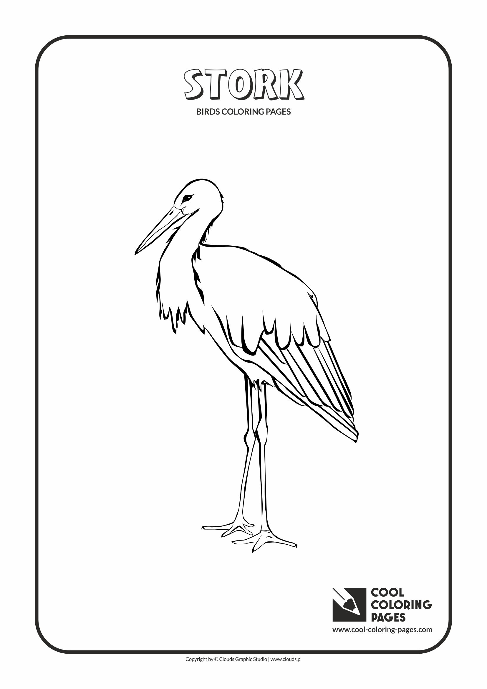 Cool Coloring Pages - Animals / Stork / Coloring page with stork