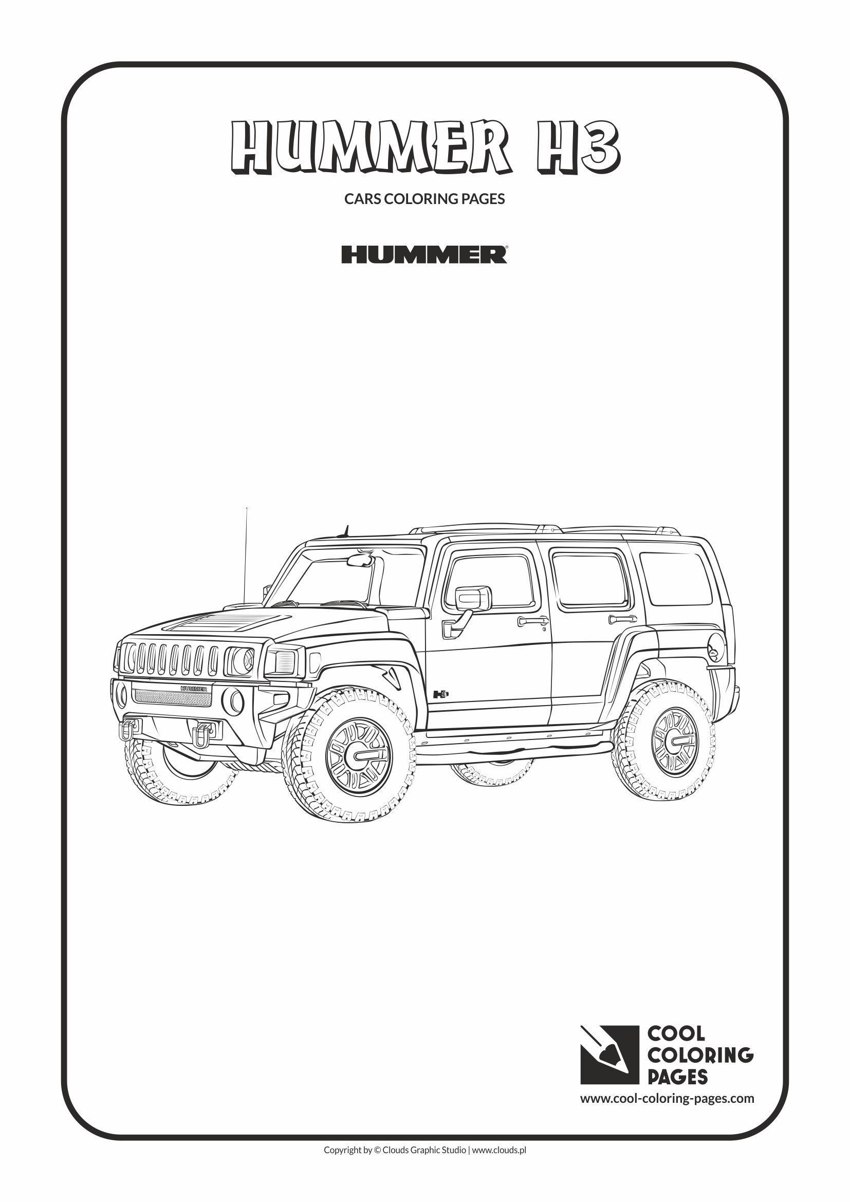 Cool Coloring Pages - Vehicles / Hummer H3 / Coloring page with Hummer H3