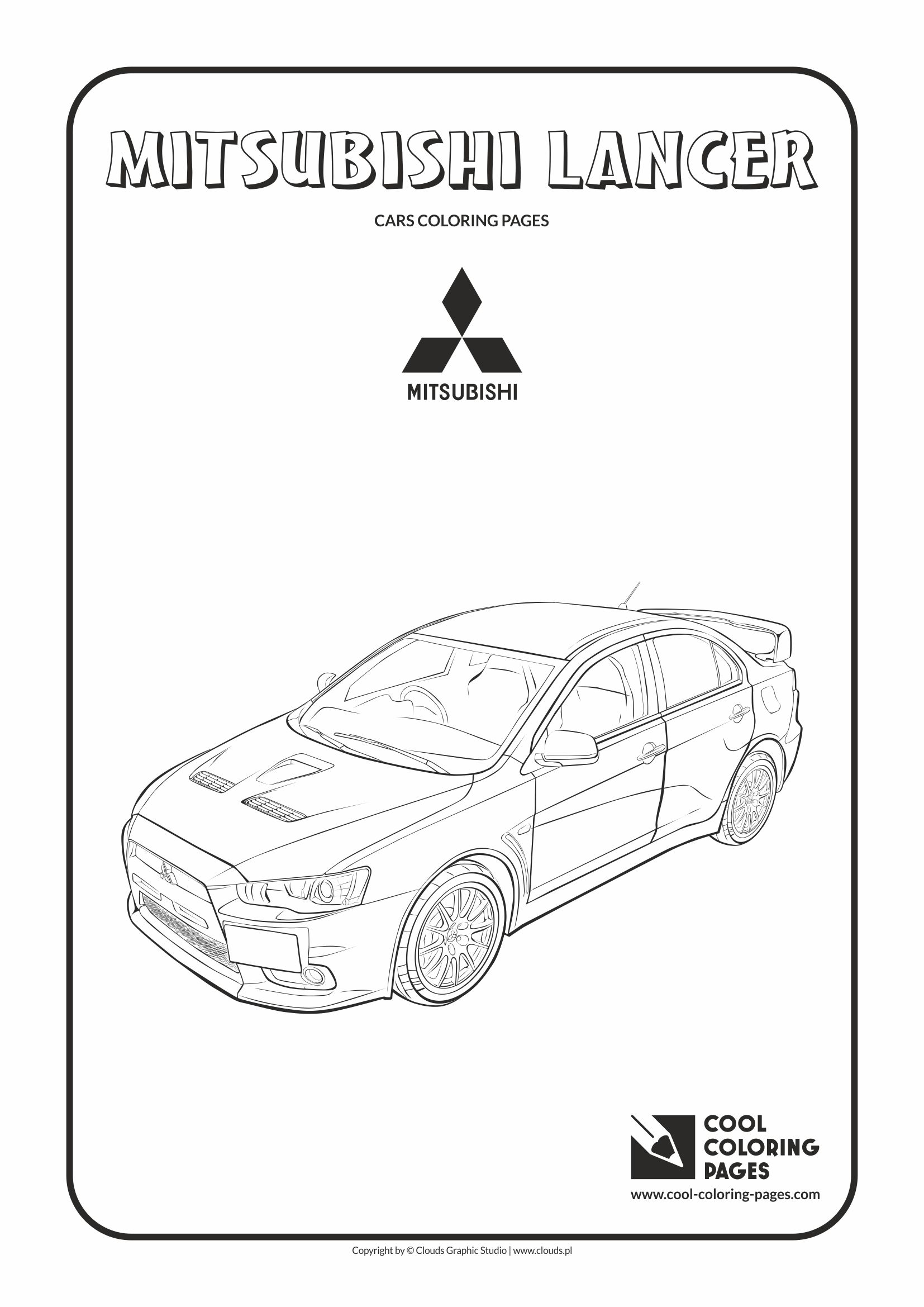 Cool Coloring Pages - Vehicles / Mitsubishi Lancer / Coloring page with Mitsubishi Lancer