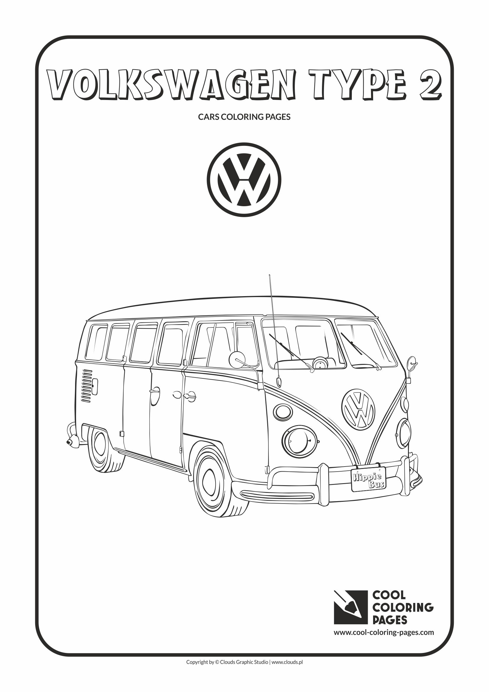 Cool Coloring Pages - Vehicles / Volkswagen type 2 / Coloring page with Volkswagen type 2