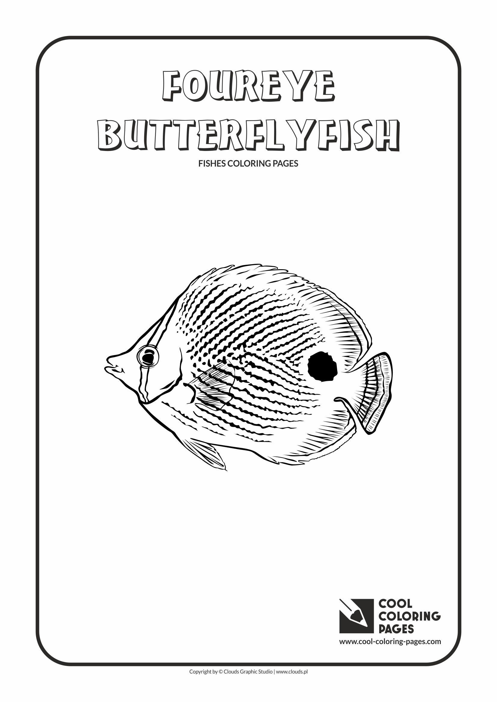 Cool Coloring Pages - Animals / Foureye butterflyfish / Coloring page with foureye butterflyfish