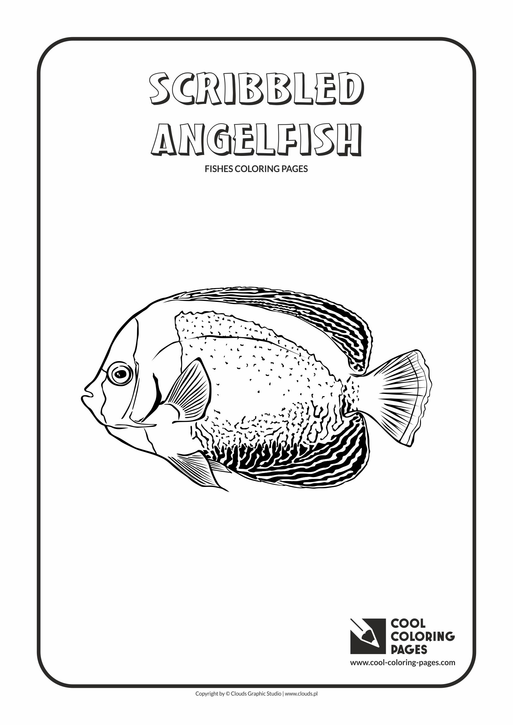 Cool Coloring Pages - Animals / Scribbled angelfish / Coloring page with scribbled angelfish