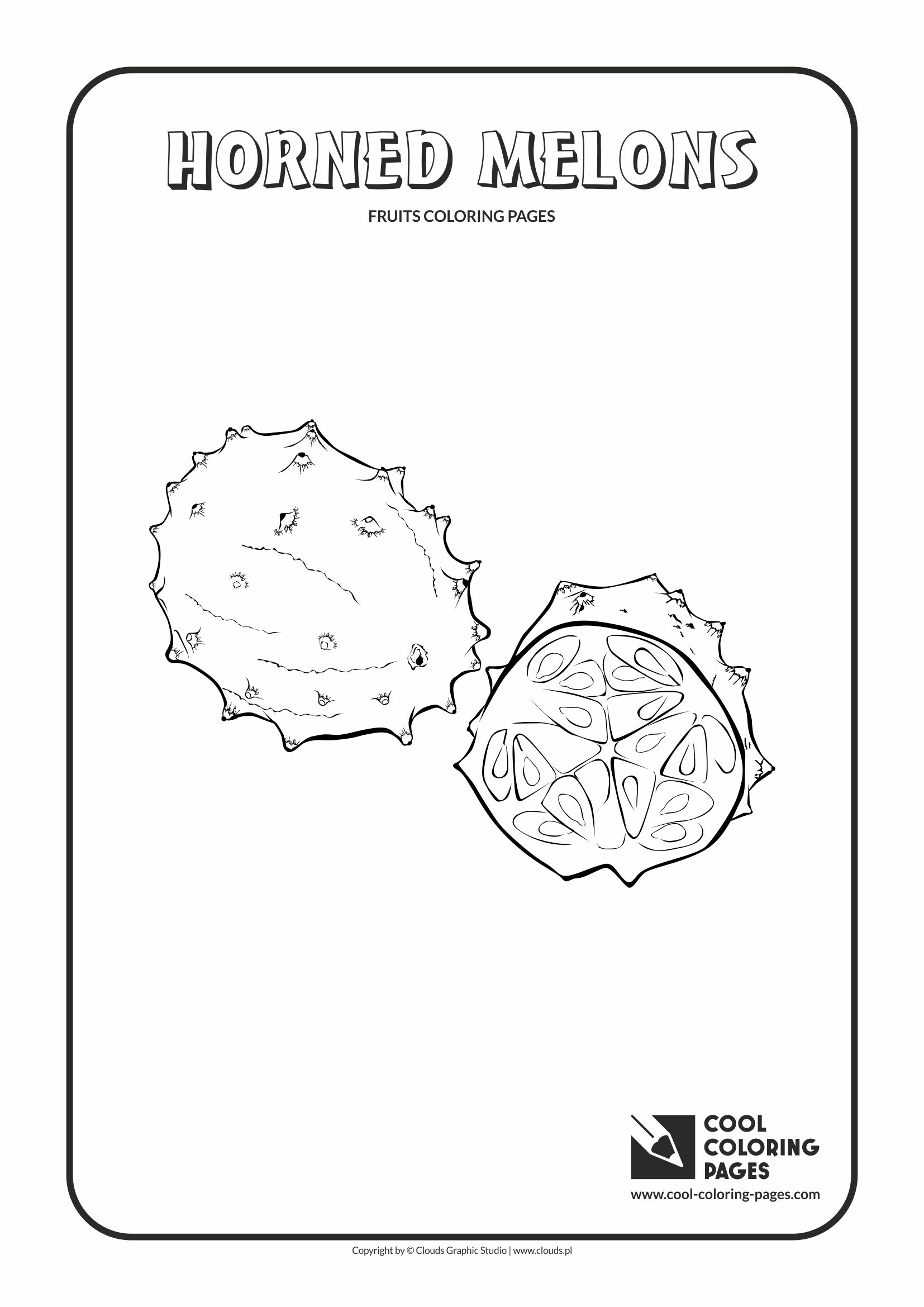 Cool Coloring Pages - Plants / Horned melons / Coloring page with horned melons