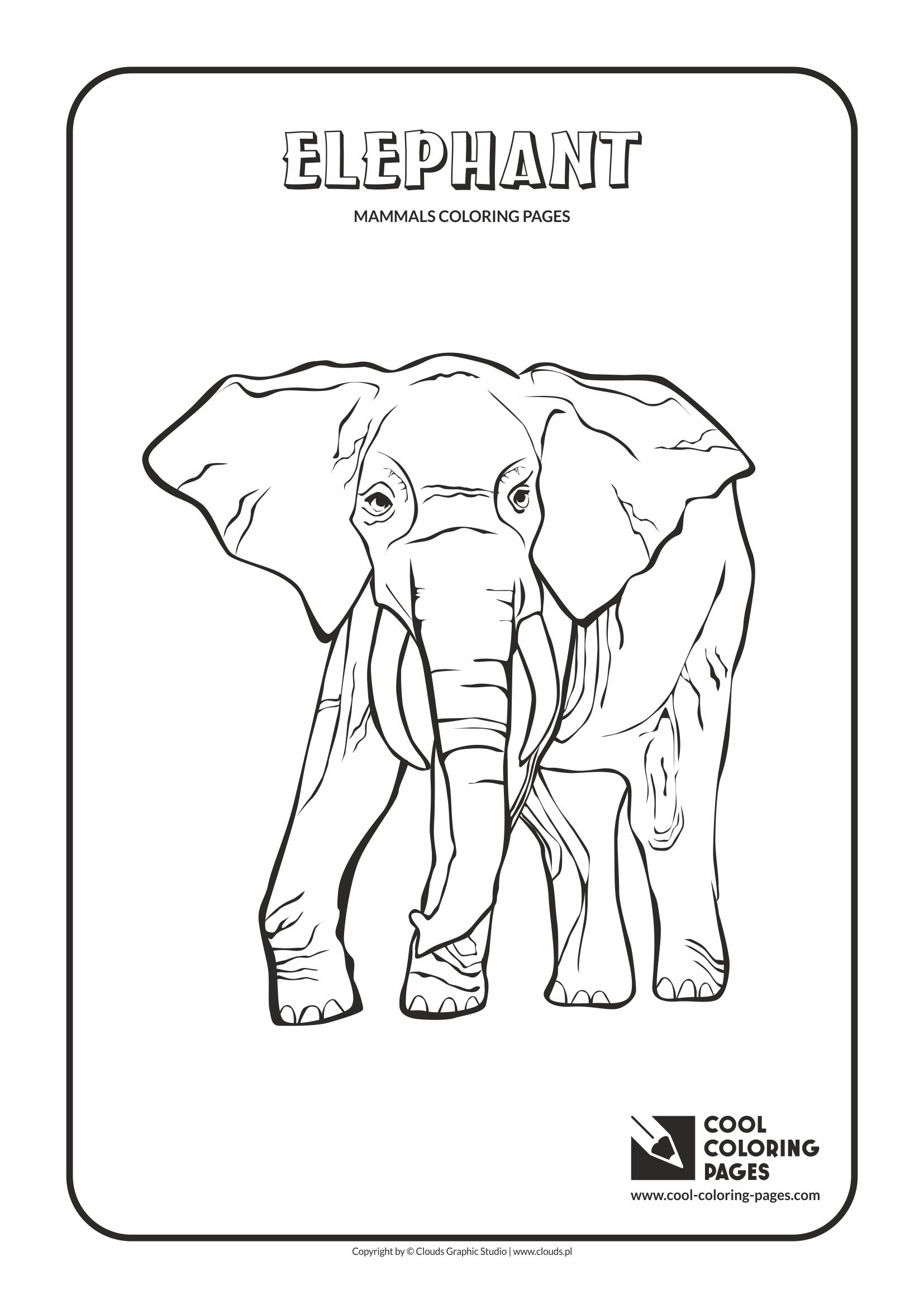 Cool Coloring Pages - Animals / Mammals. Coloring page with elephant