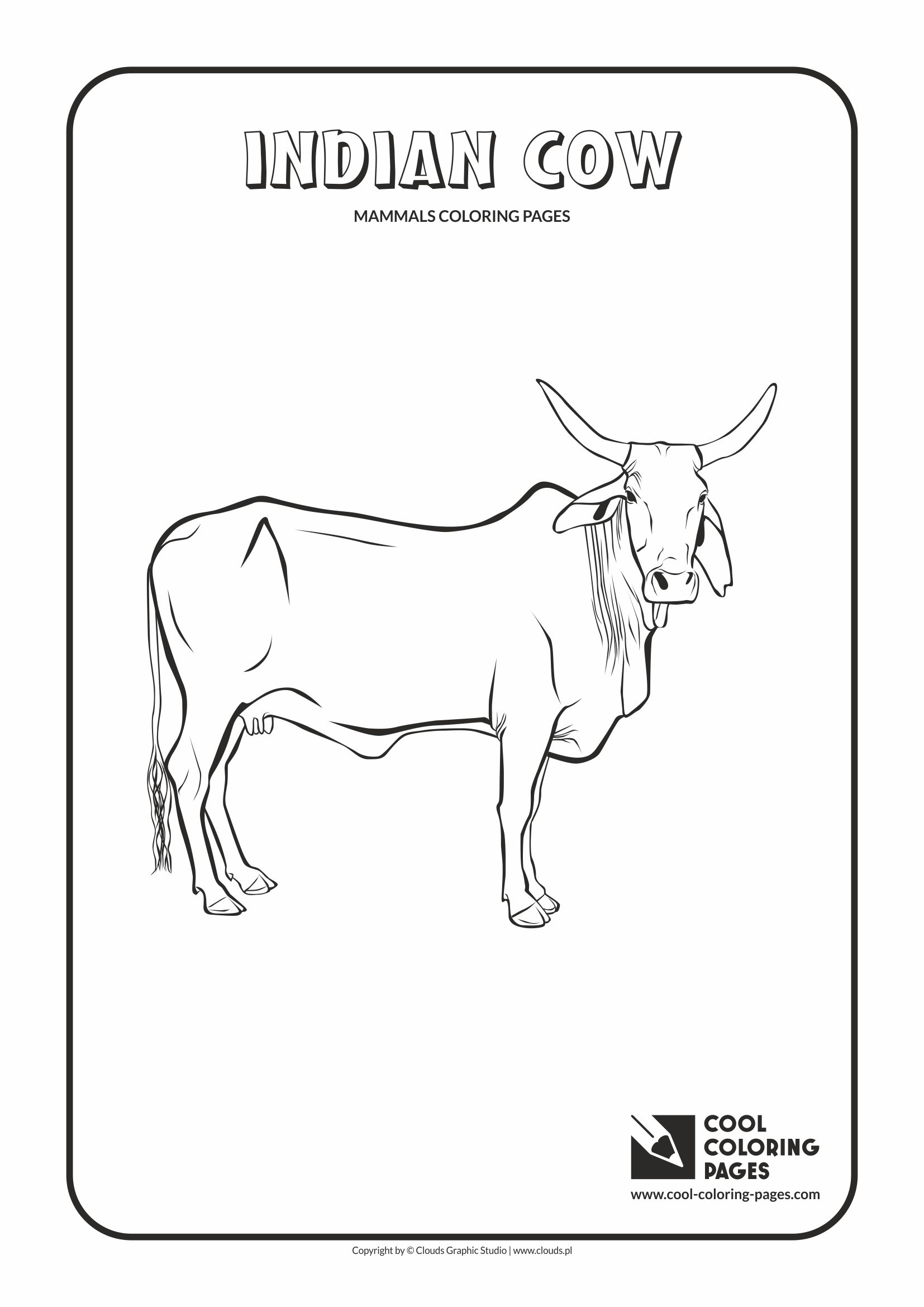 Cool Coloring Pages - Animals / Indian cow / Coloring page with indian cow