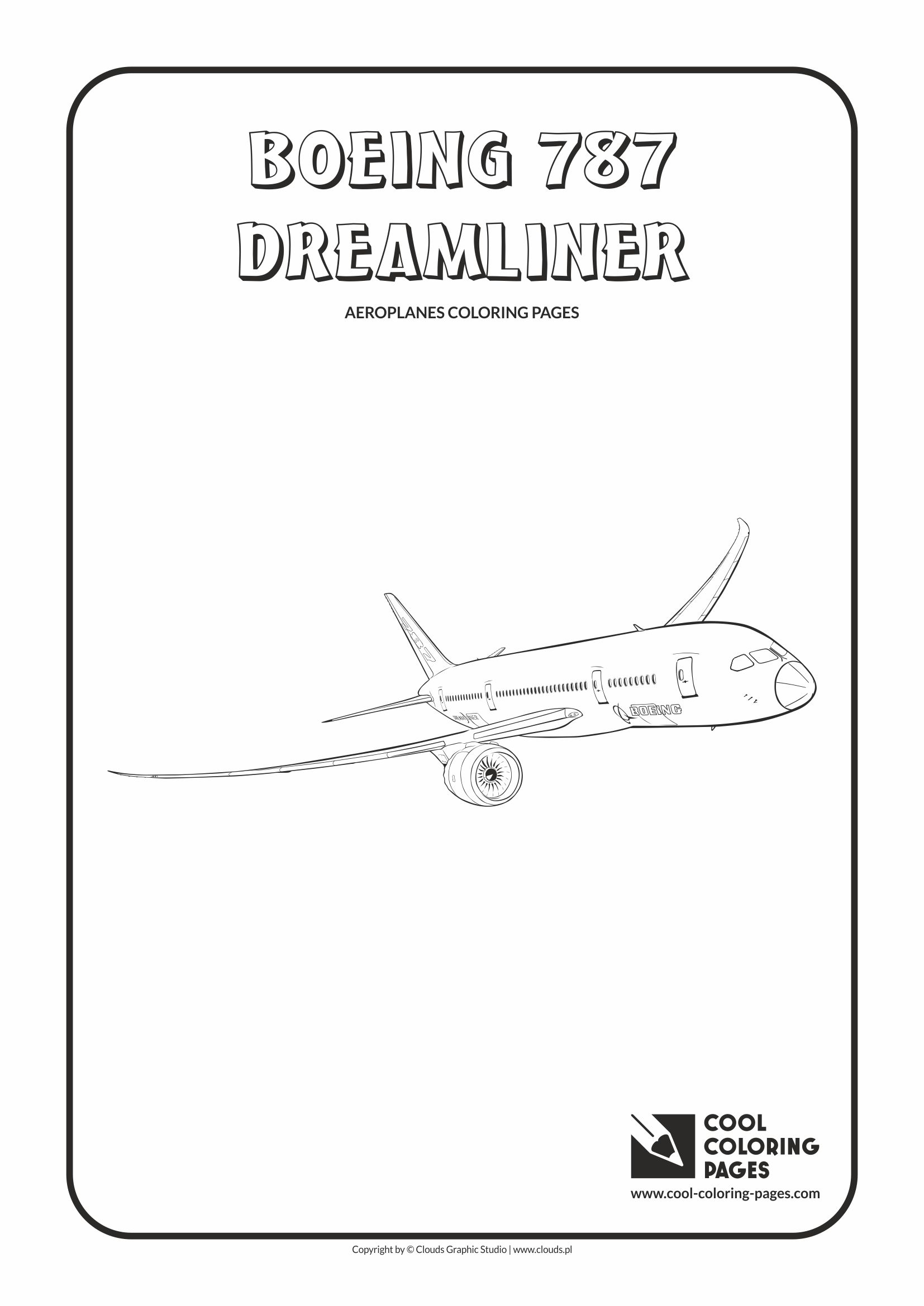 Cool Coloring Pages - Vehicles / Boeing 787 Dreamliner / Coloring page with Boeing 787 Dreamliner
