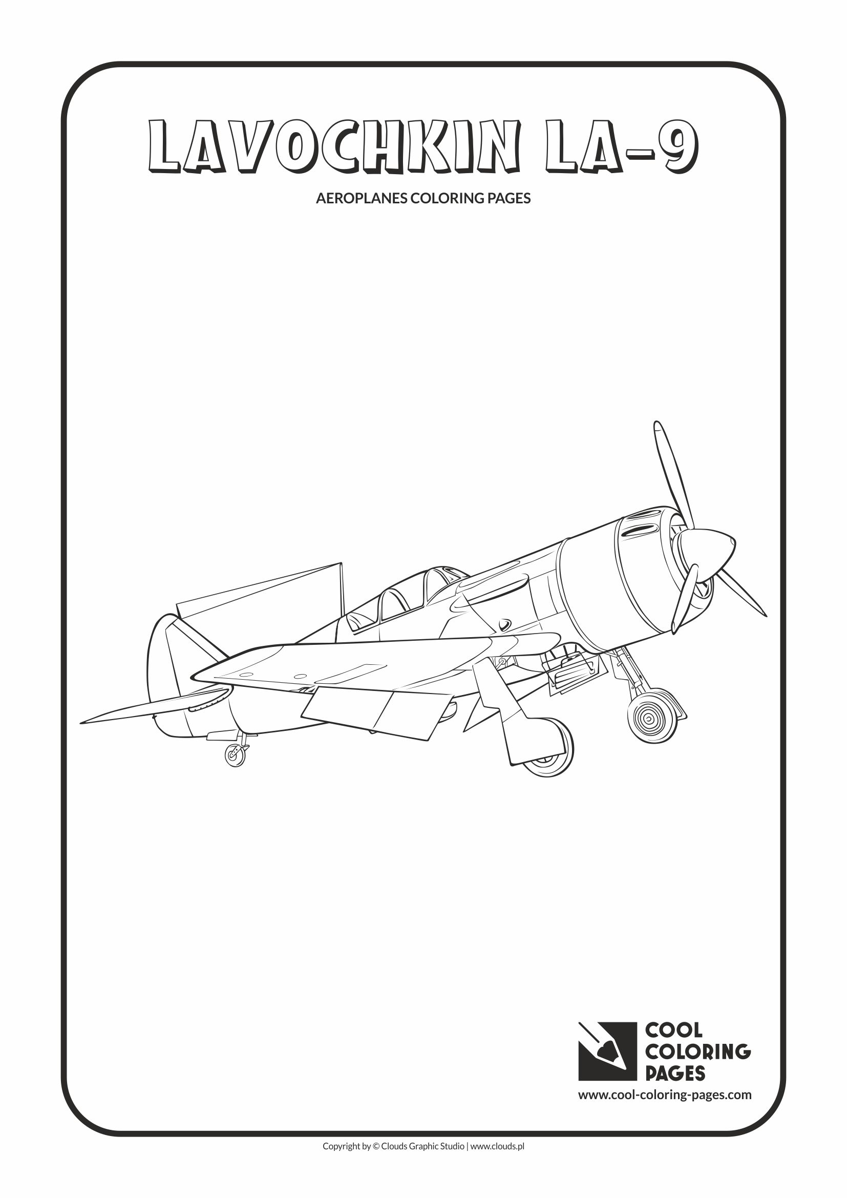 Cool Coloring Pages - Vehicles / Lavochkin La-9 / Coloring page with Lavochkin La-9