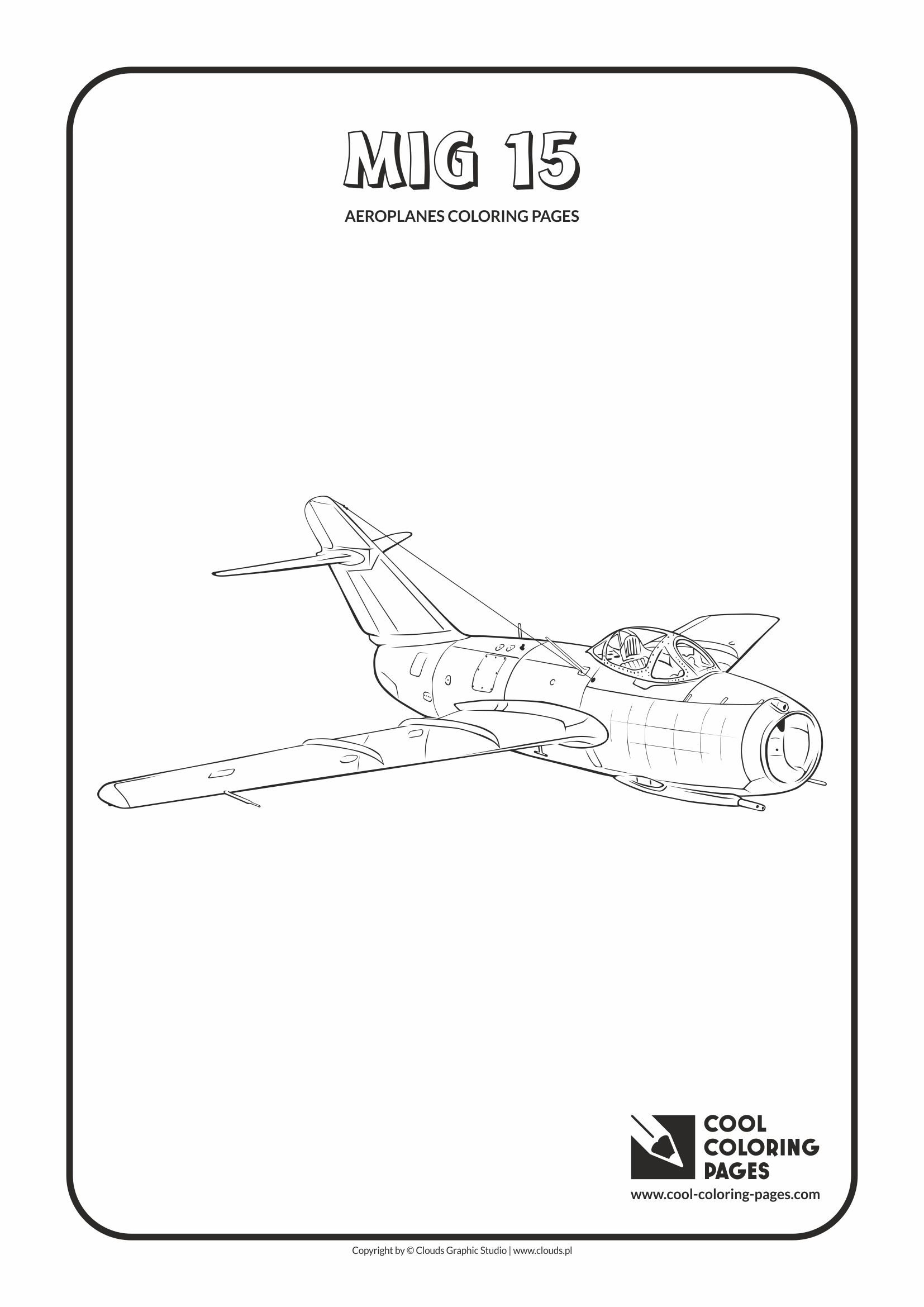 Cool Coloring Pages - Vehicles / Mig 15 / Coloring page with Mig 15