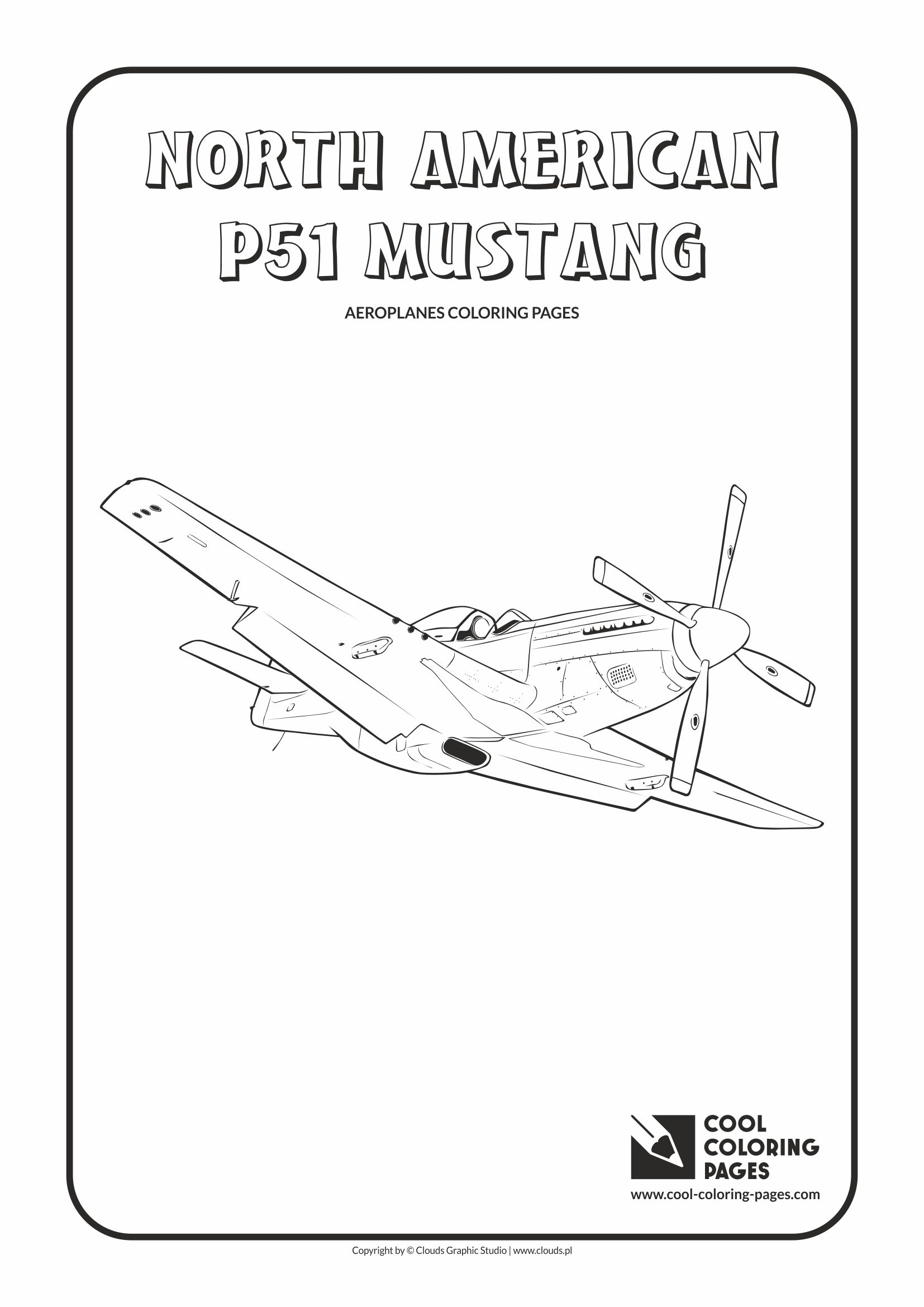 Cool Coloring Pages - Vehicles / North American P-51 Mustang / Coloring page with North American P-51 Mustang