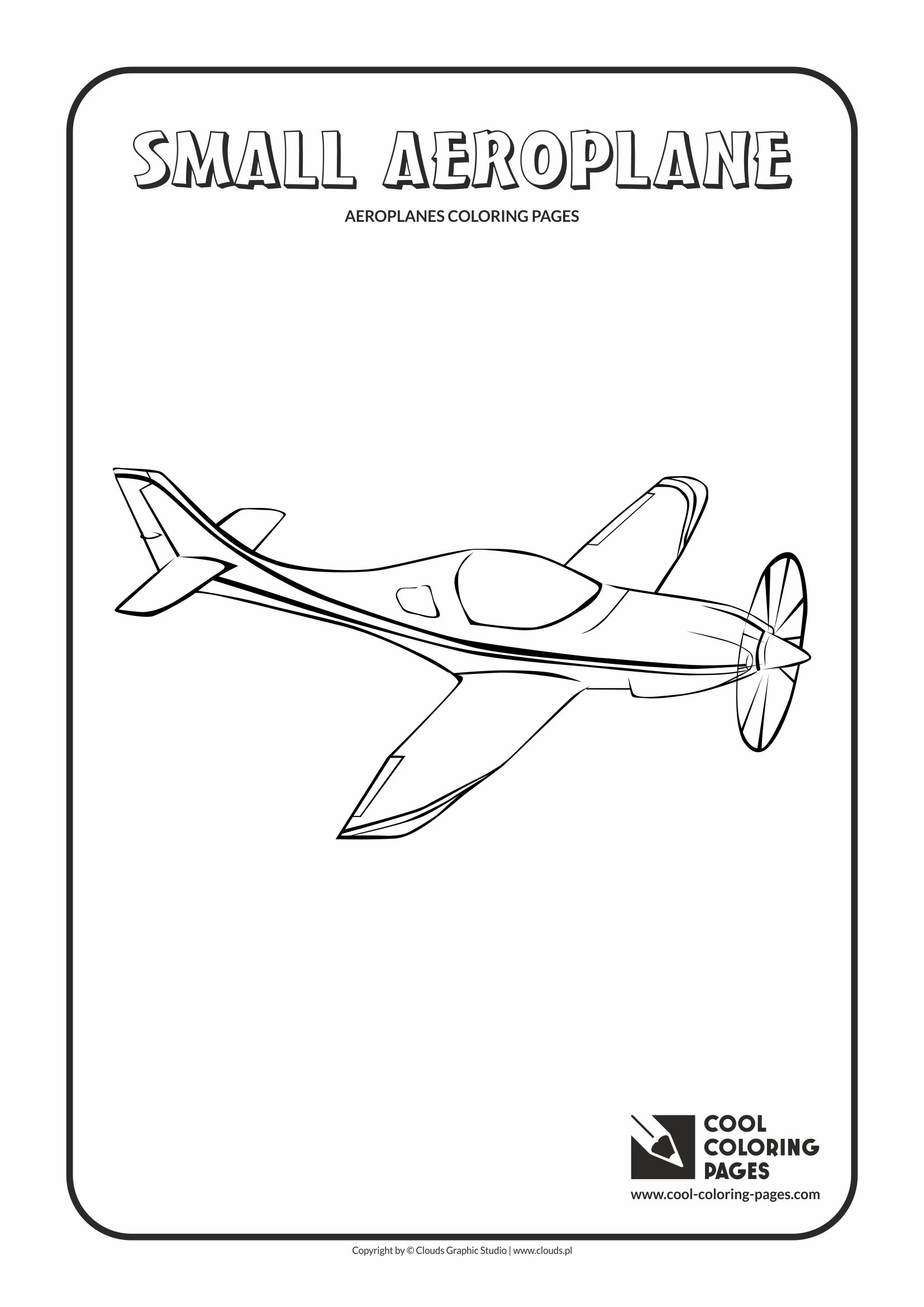 Cool Coloring Pages - Vehicles / Small aeroplane / Coloring page with small aeroplane