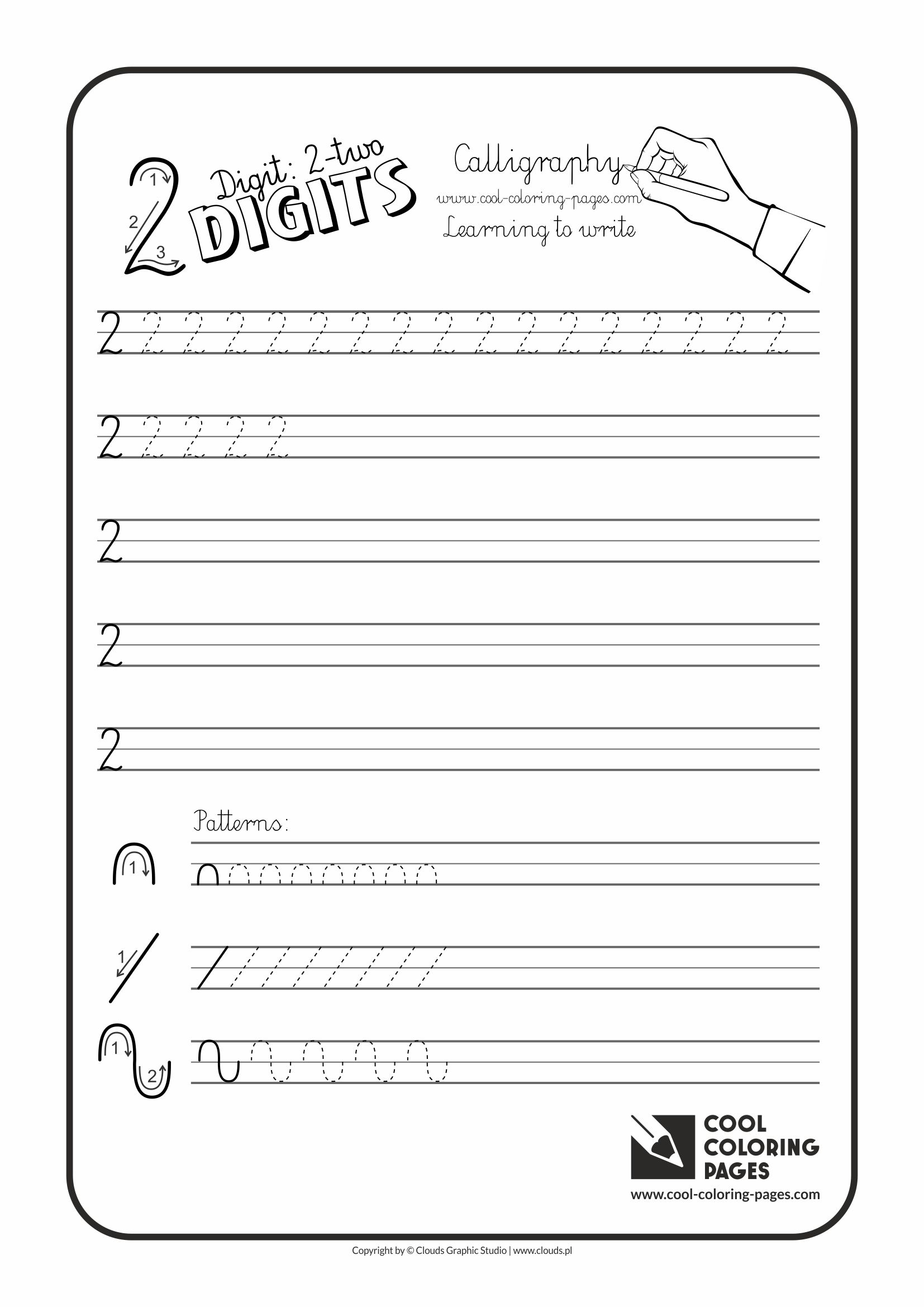 Cool Coloring Pages / Calligraphy / Digit 2 / Handwriting for kids