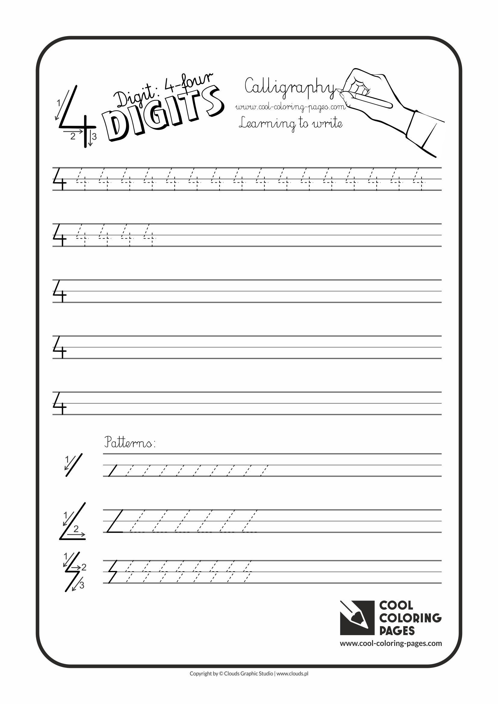 Cool Coloring Pages / Calligraphy / Digit 4 / Handwriting for kids