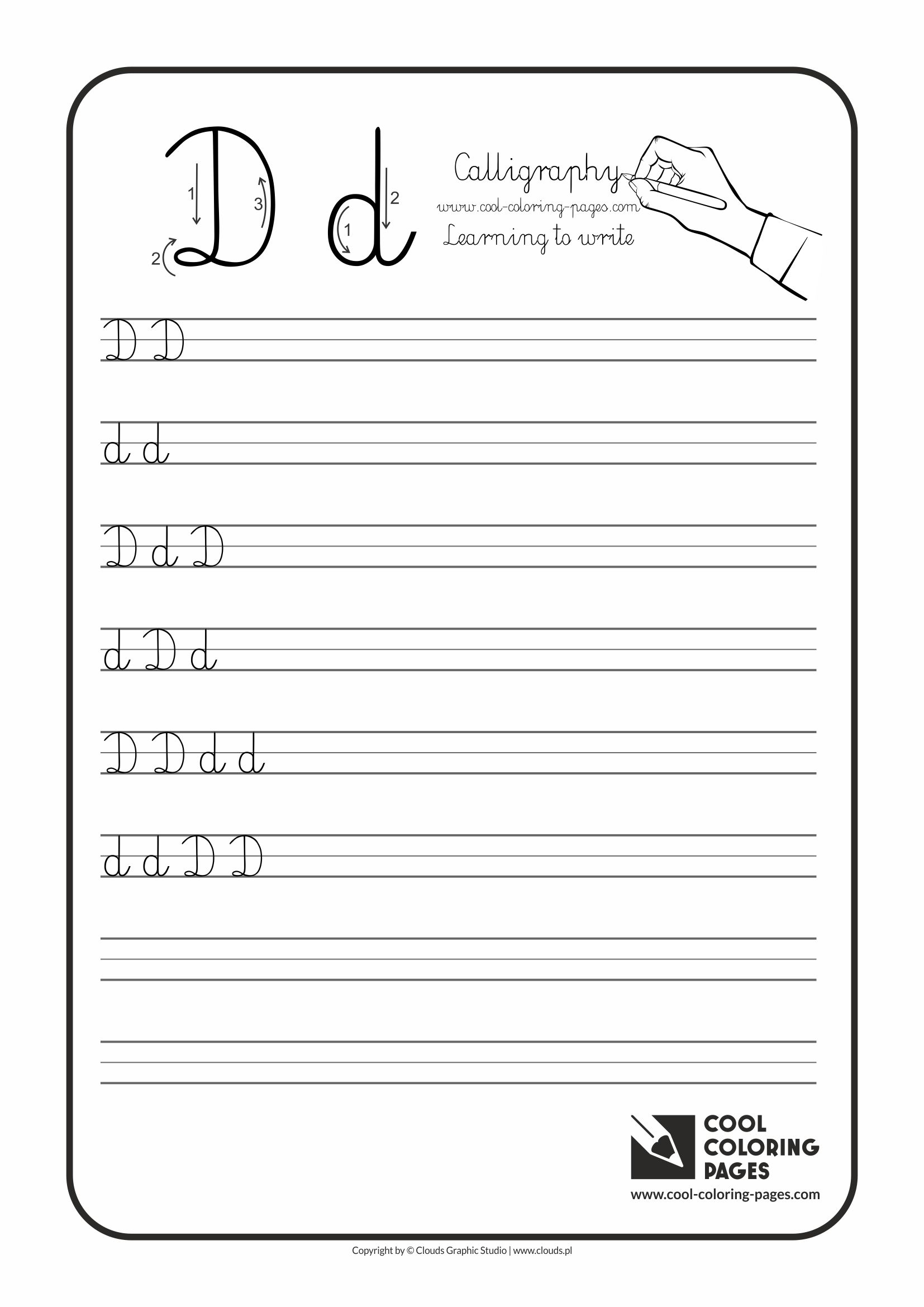 letter d calligraphy for kids cool coloring pages