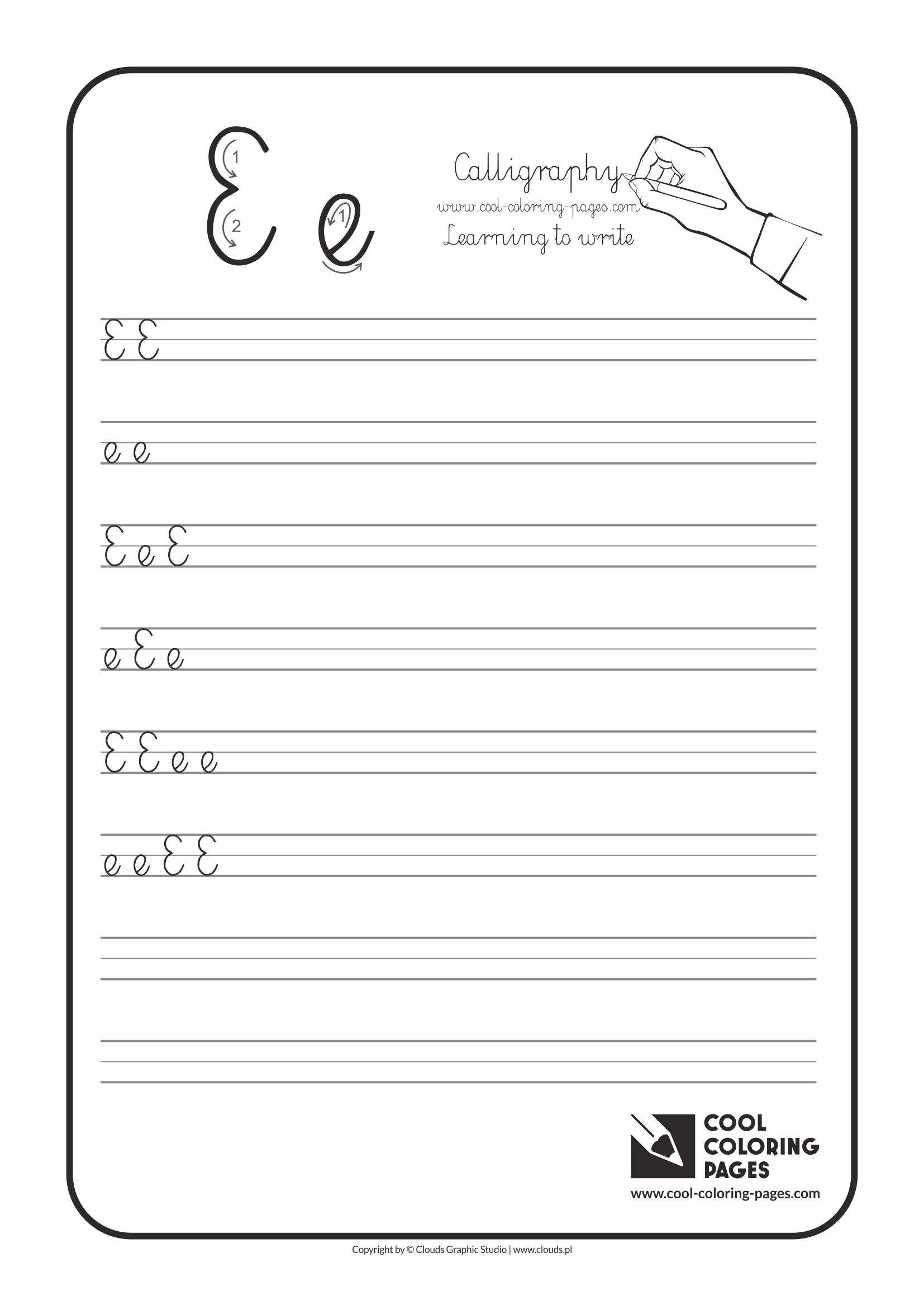 Cool Coloring Pages / Calligraphy / Letter E - Handwriting for kids / Worksheets