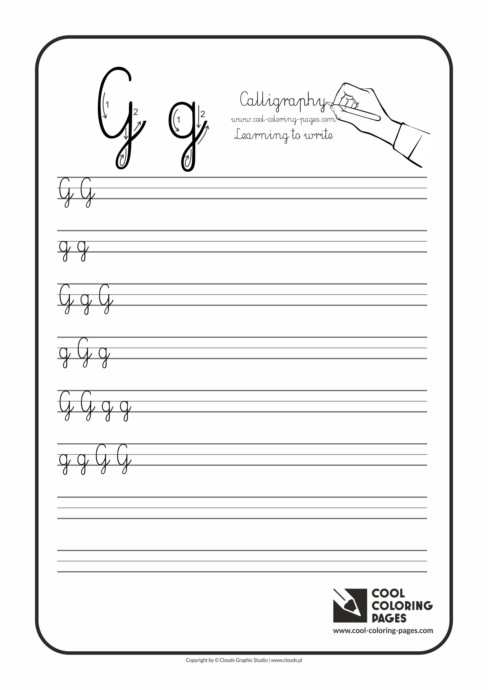 letter g calligraphy for kids cool coloring pages
