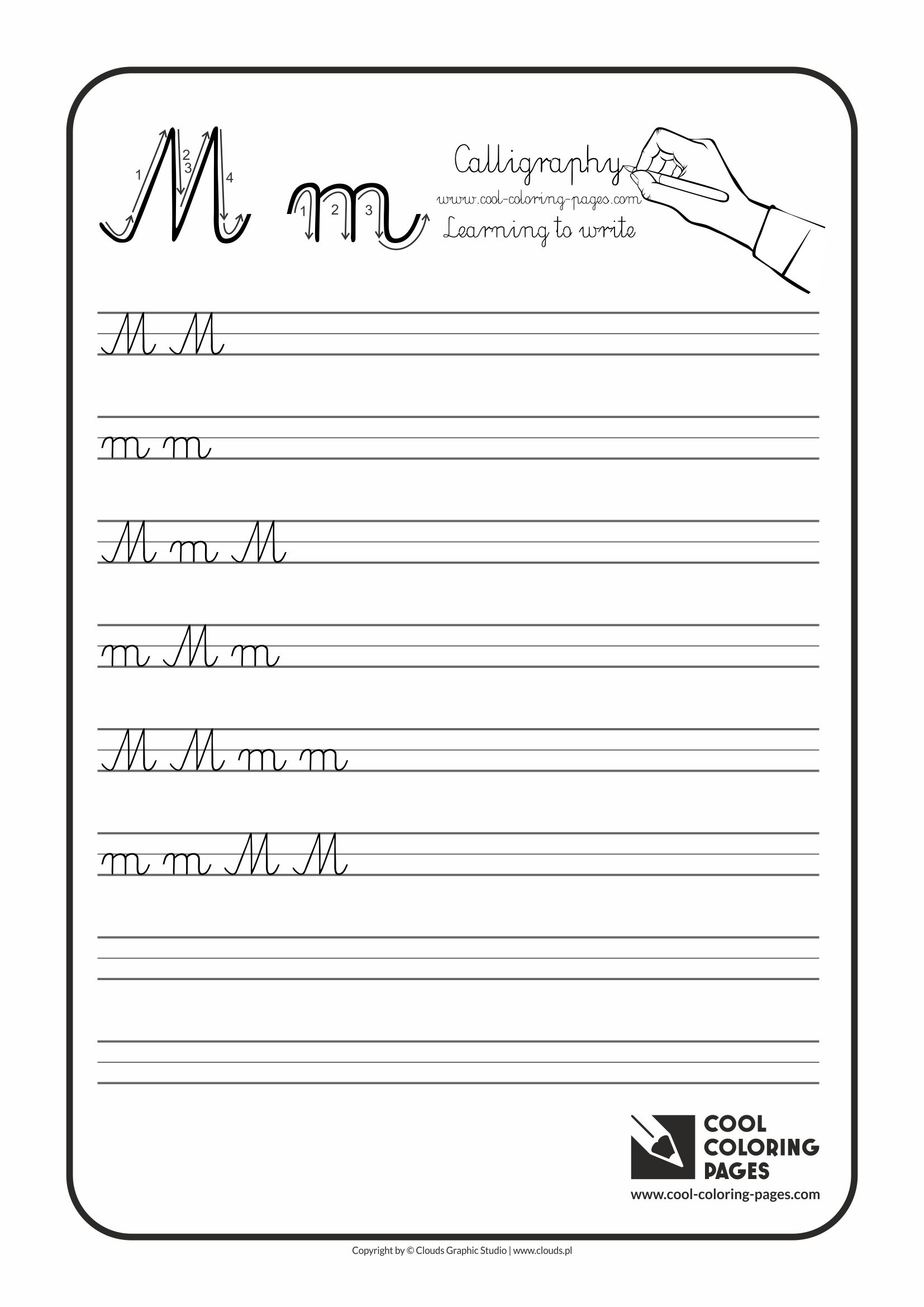 letter m calligraphy for kids cool coloring pages