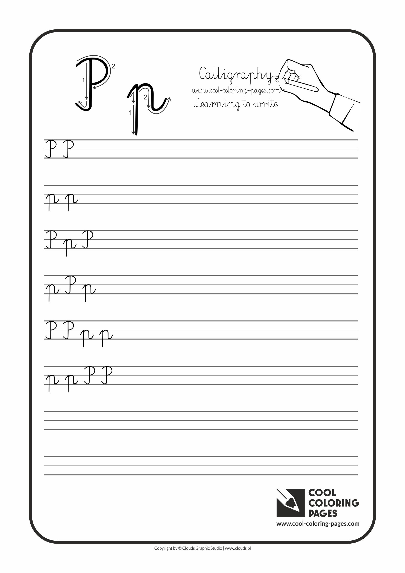 Coloring pages for letter p - Cool Coloring Pages Calligraphy Letter P Handwriting For Kids Worksheet