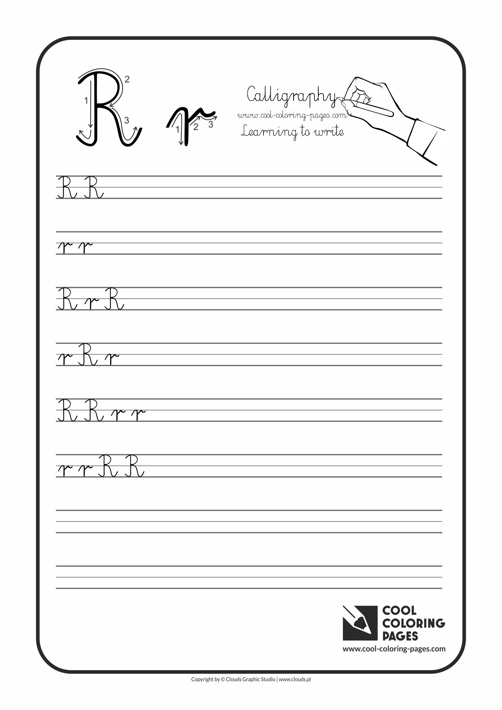 Coloring sheet of the letter t - Cool Coloring Pages Calligraphy Letter R Handwriting For Kids Worksheets