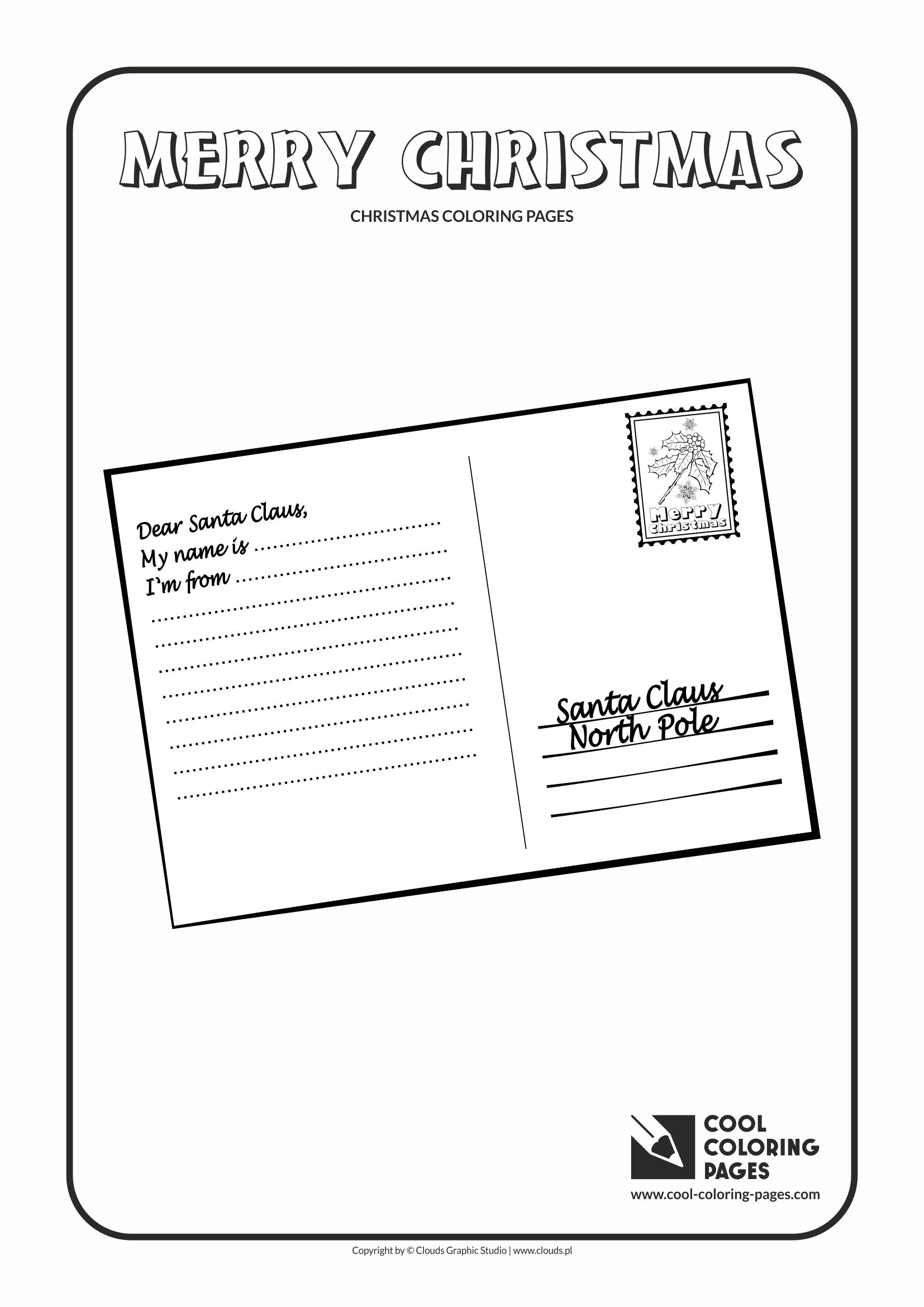 cool coloring pages holidays postcard to santa claus coloring page with postcard to