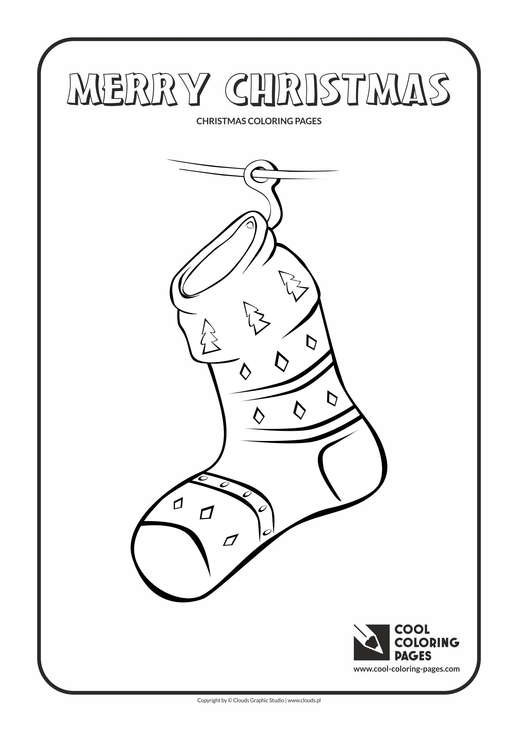 Cool Coloring Pages - Holidays / Christmas sock / Coloring page with Christmas sock