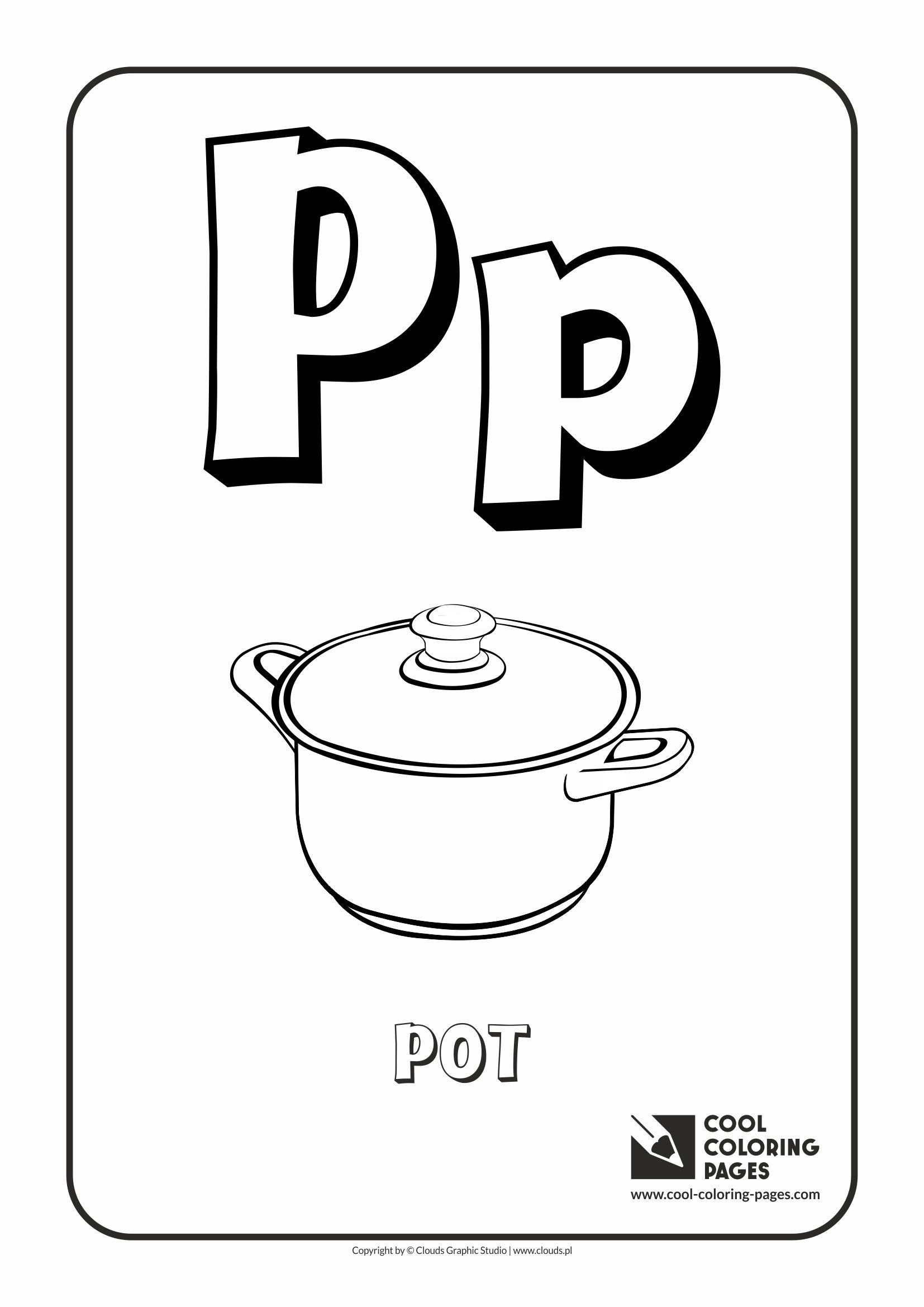 Cool coloring pages alphabet letter p coloring page with letter p