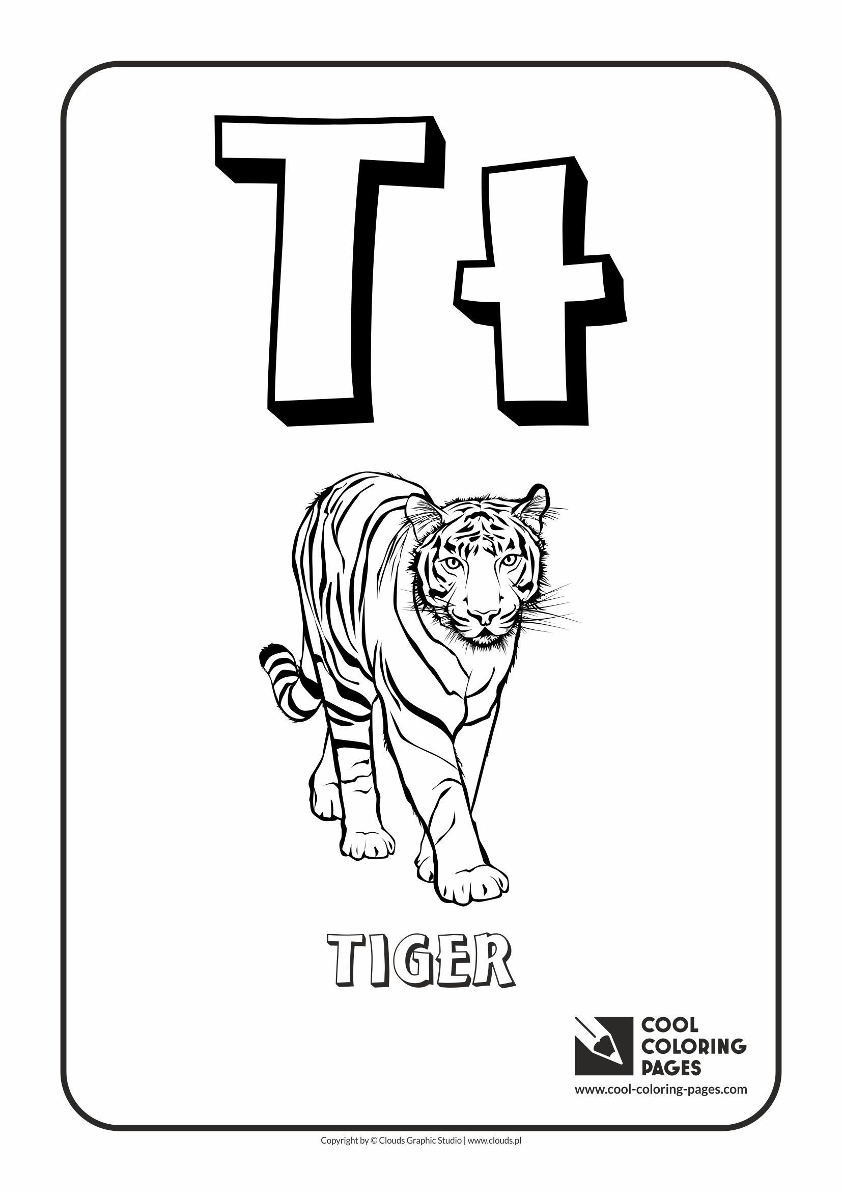 Coloring sheet of the letter t - Cool Coloring Pages Alphabet Letter T Coloring Page With Letter T