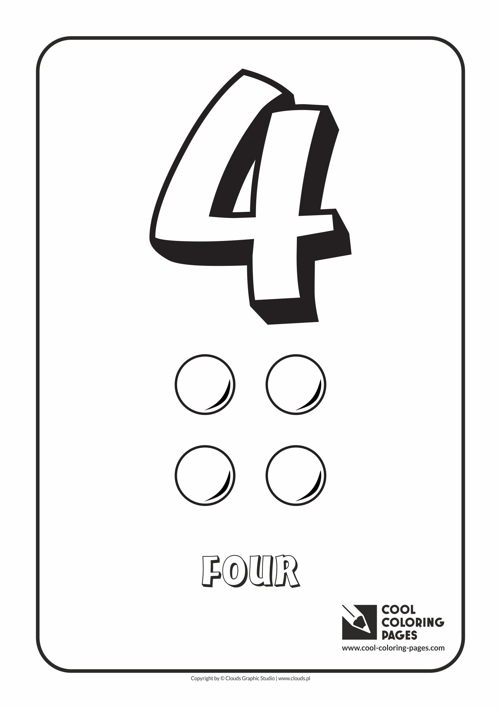 Cool Coloring Pages - Digits / Digit 4 / Coloring page with digit 4