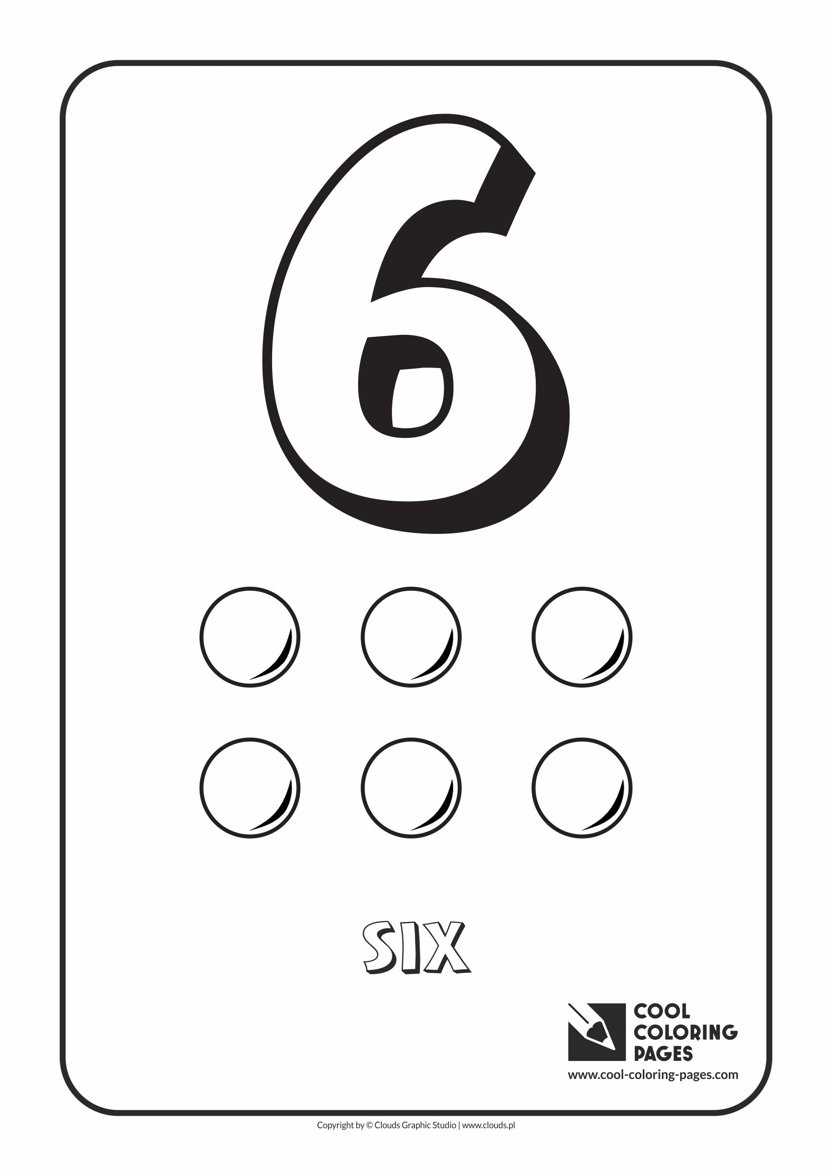 Cool Coloring Pages - Digits / Digit 6 / Coloring page with digit 6