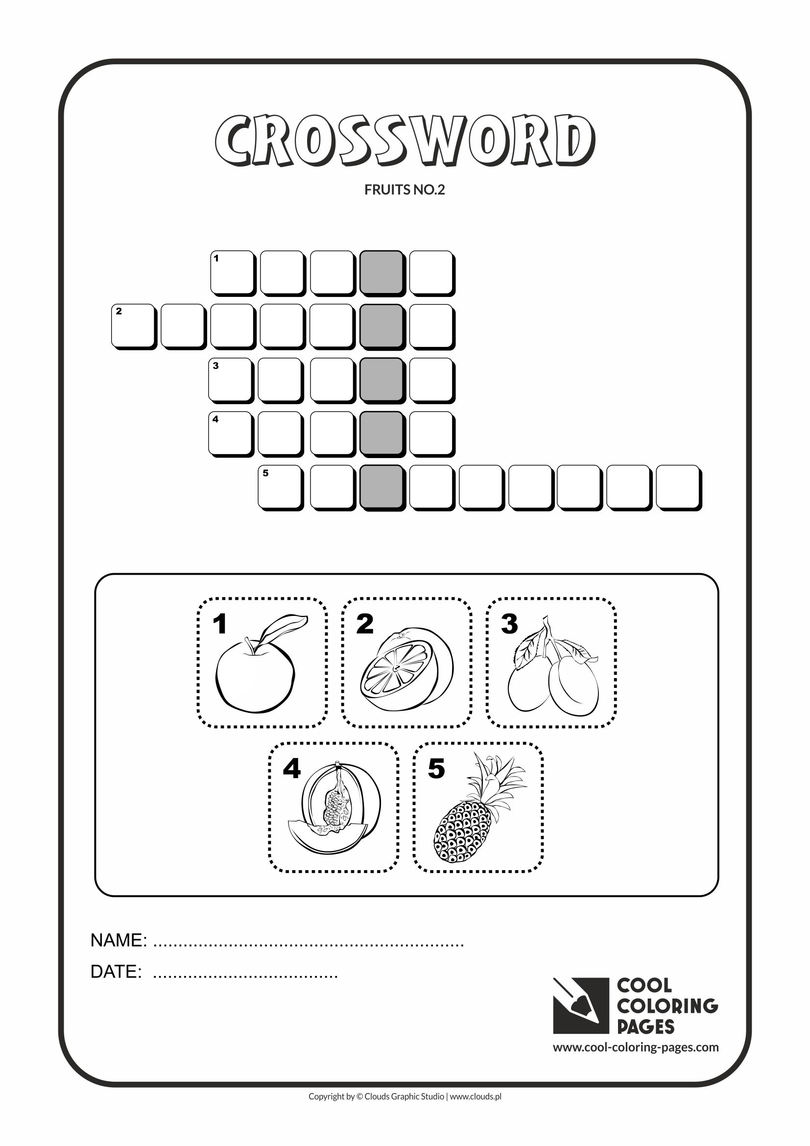 Cool Coloring Pages -Crosswords / Crossword fruits no 2