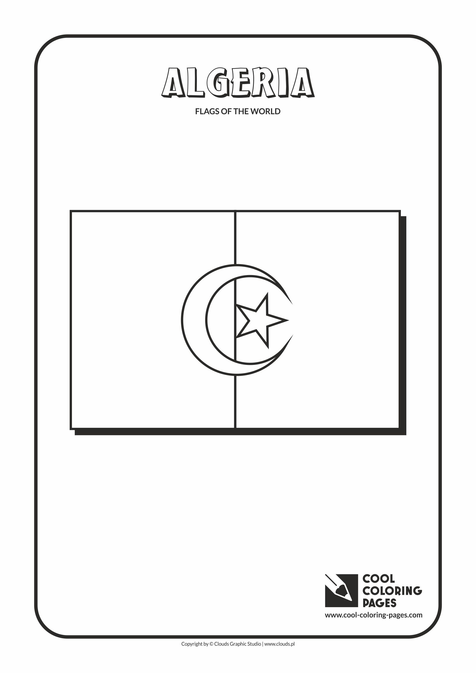 cool coloring pages flags of the world algeria flag - Flags World Coloring Pages