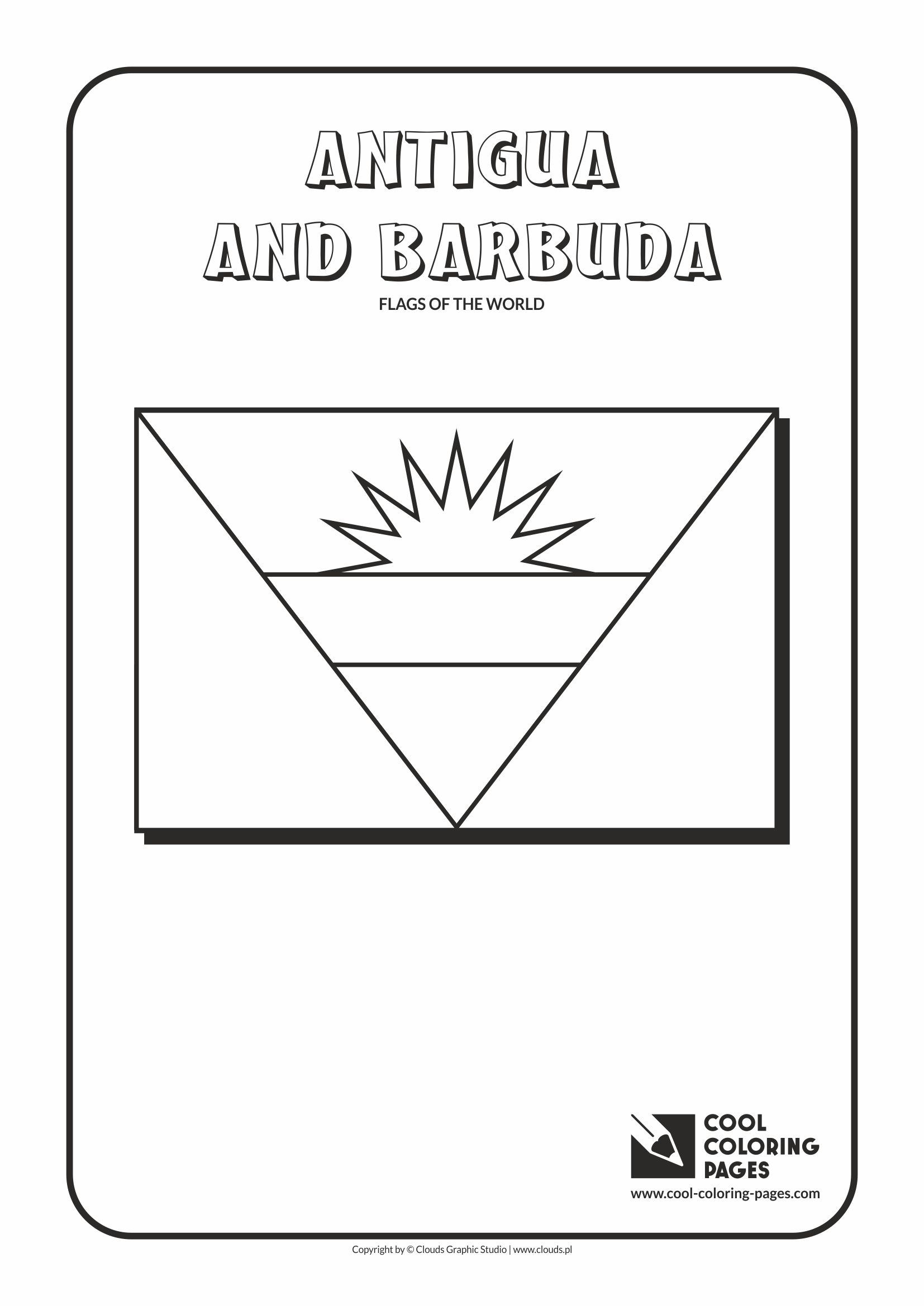 cool coloring pages flags of the world antiqua and barbuda flag - Flags World Coloring Pages