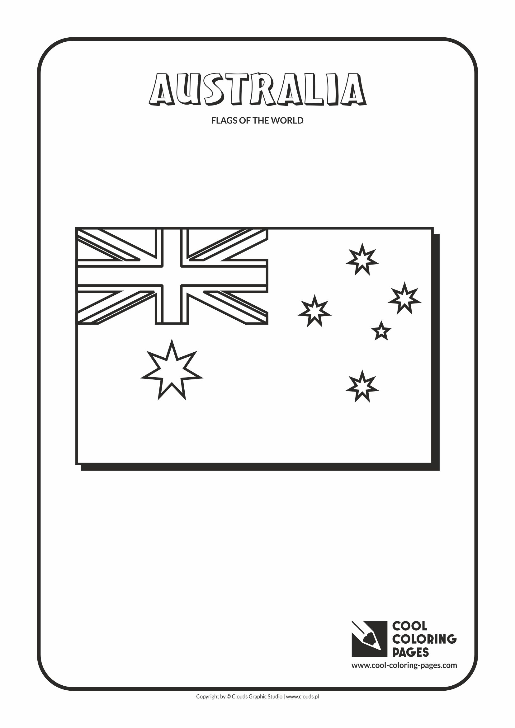 flags of the world coloring page of the australian flag