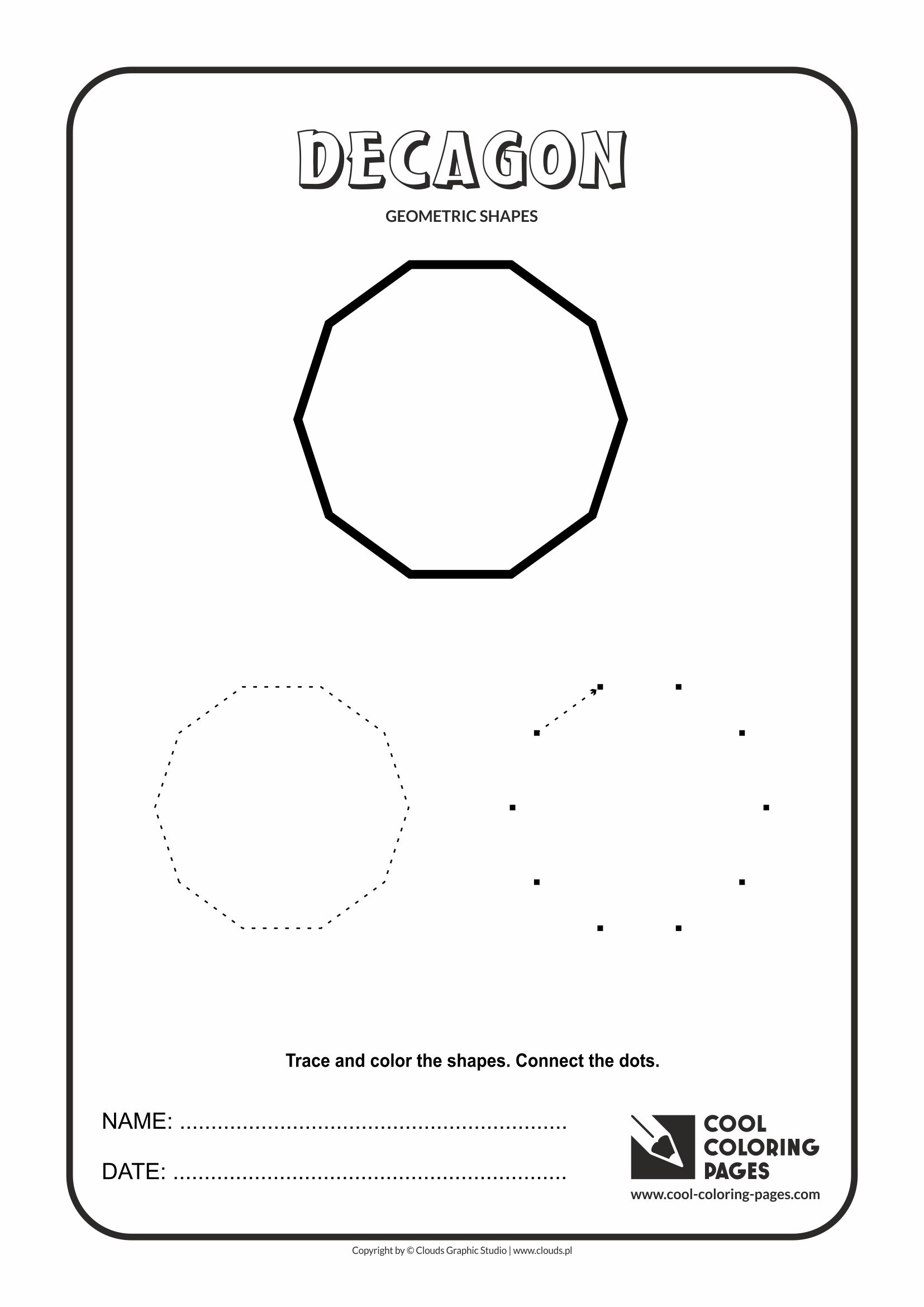 Coloring pages shapes - Cool Coloring Pages Geometric Shapes Decagon