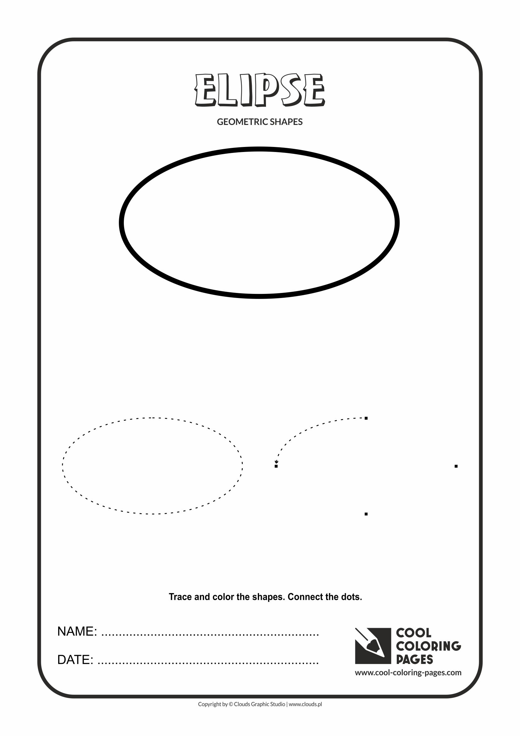 Geometric shapes coloring sheet - Cool Coloring Pages Geometric Shapes Elipse