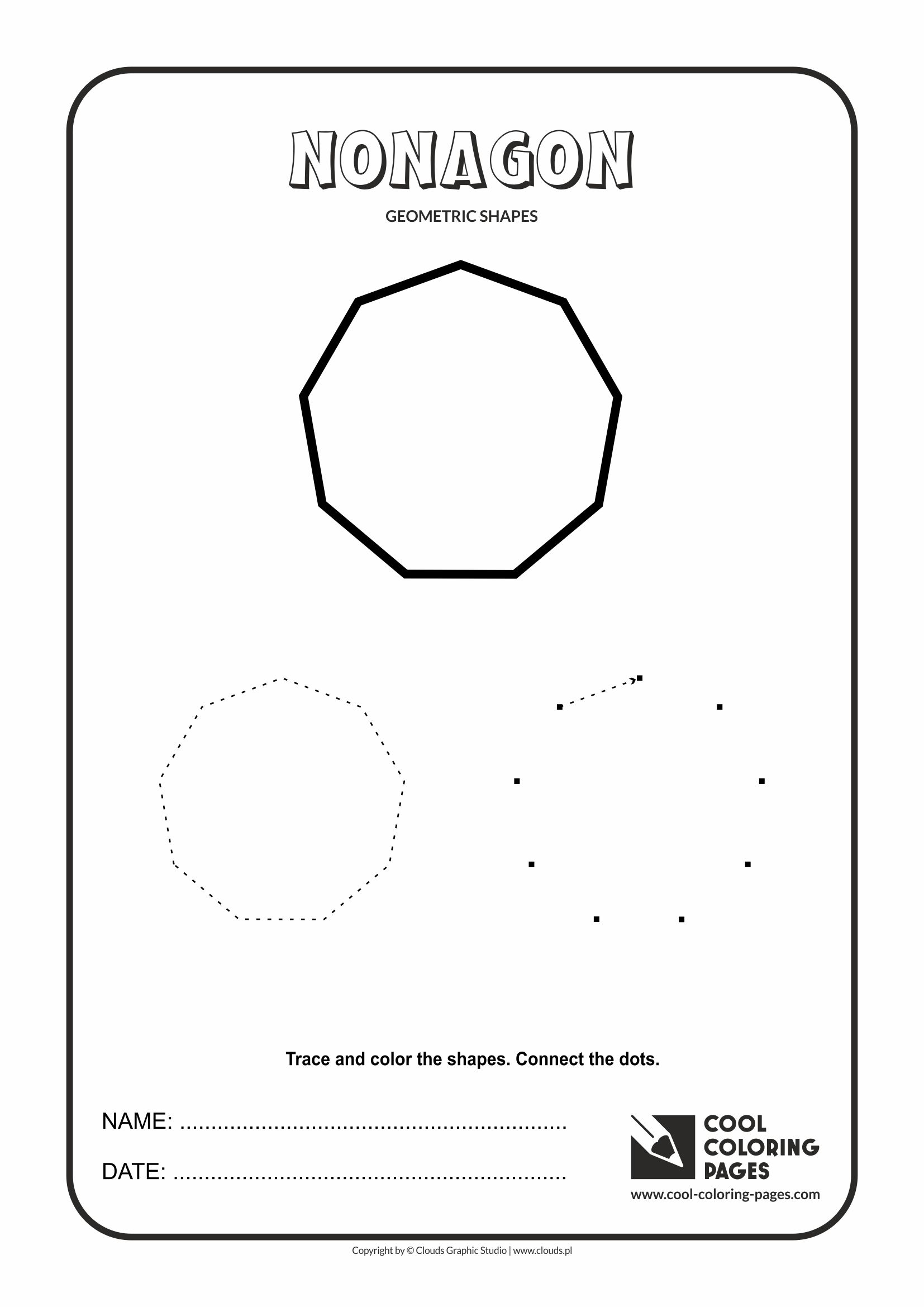 cool coloring pages geometric shapes nonagon