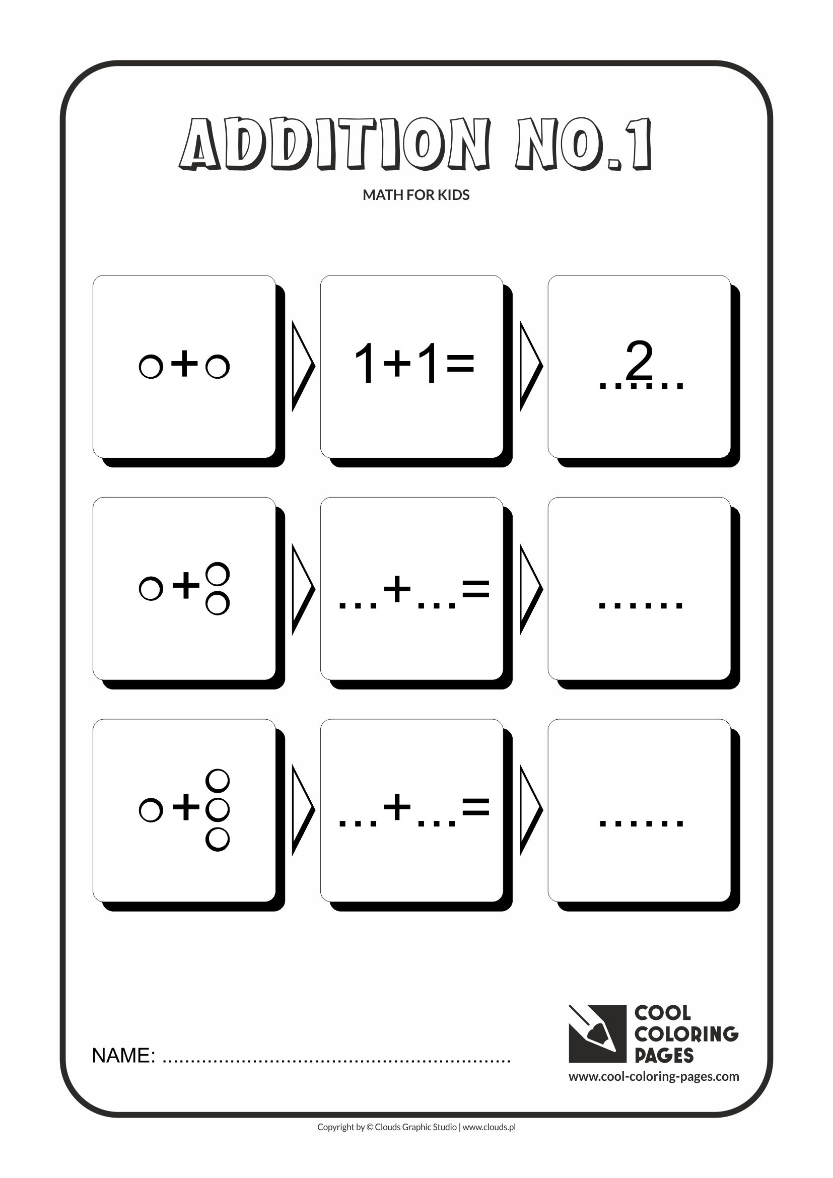 Cool Coloring Pages - Math for kids / Addition no.1