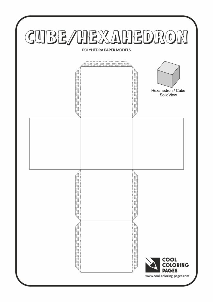 Cool Coloring Pages Cube Paper solids models Cool
