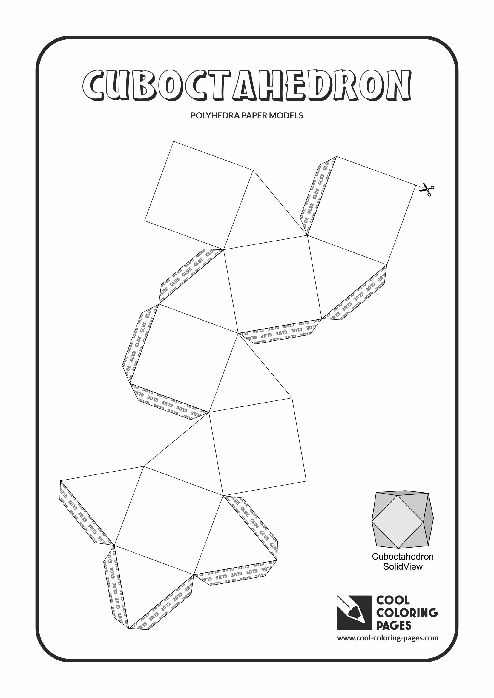 Cool Coloring Pages - Paper models of polyhedra / Paper solids models / Cuboctahedron