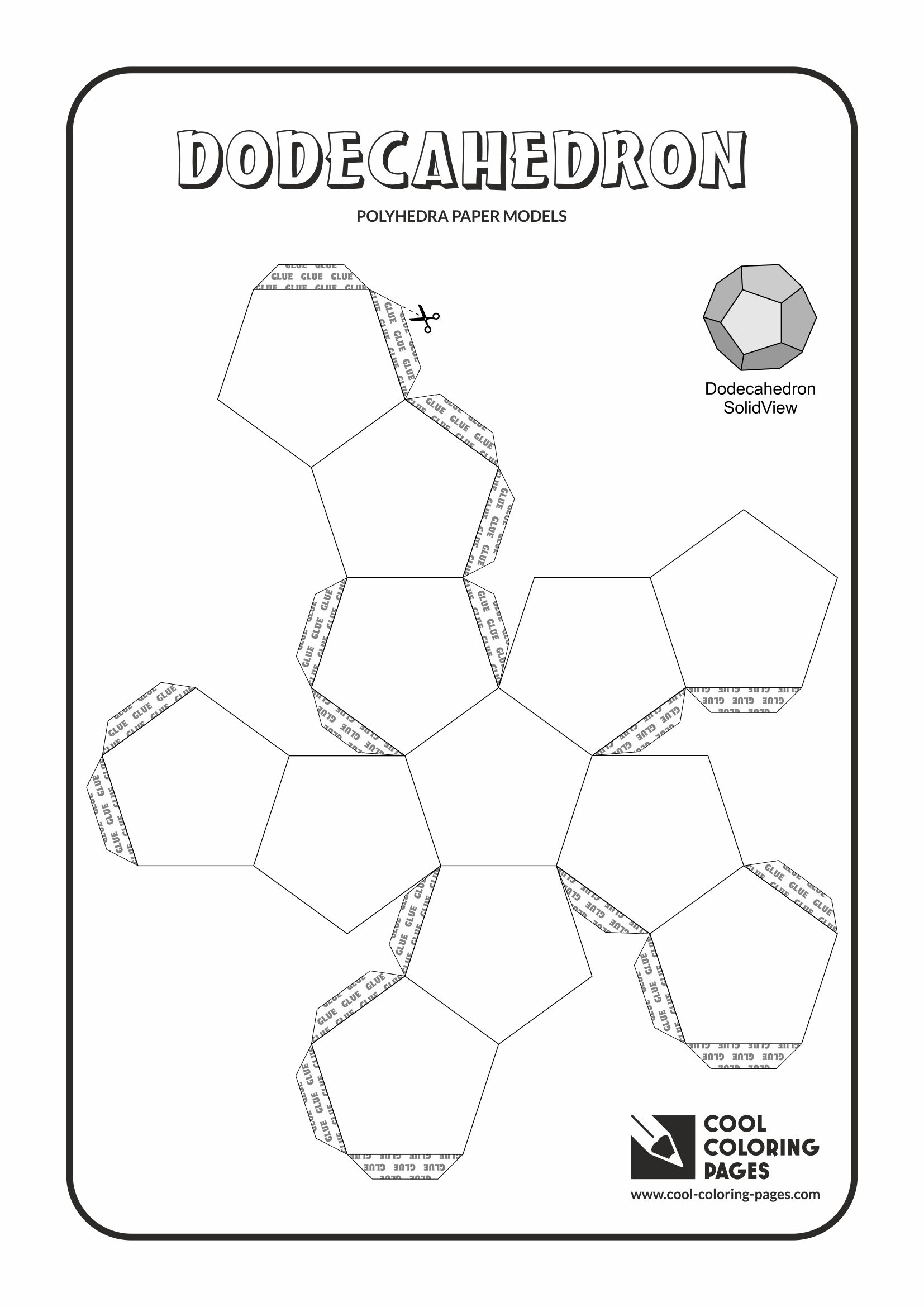 Cool Coloring Pages - Paper models of polyhedra / Paper solids models / Dodecahedron