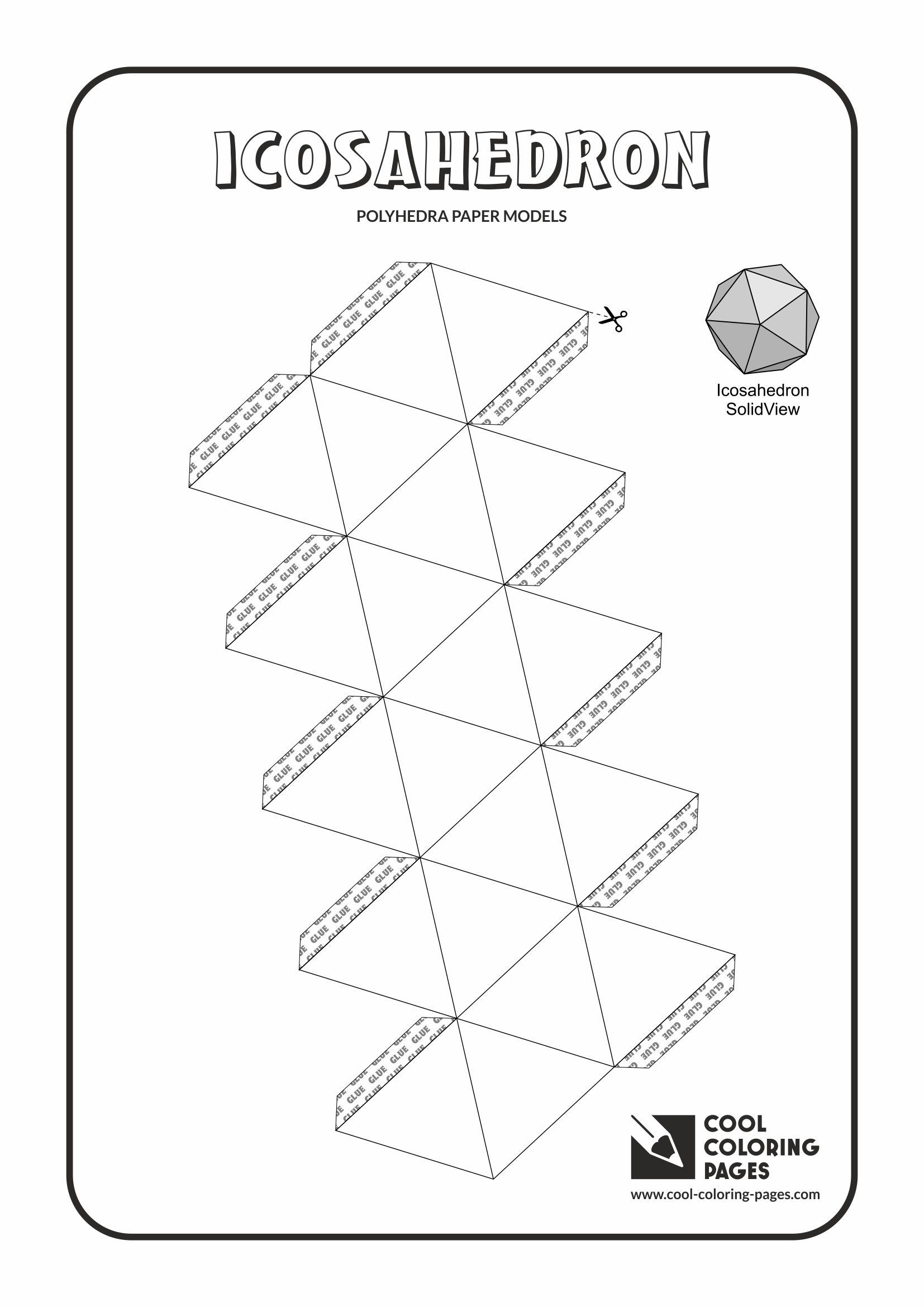 Cool Coloring Pages - Paper models of polyhedra / Paper solids models / Icosahedron