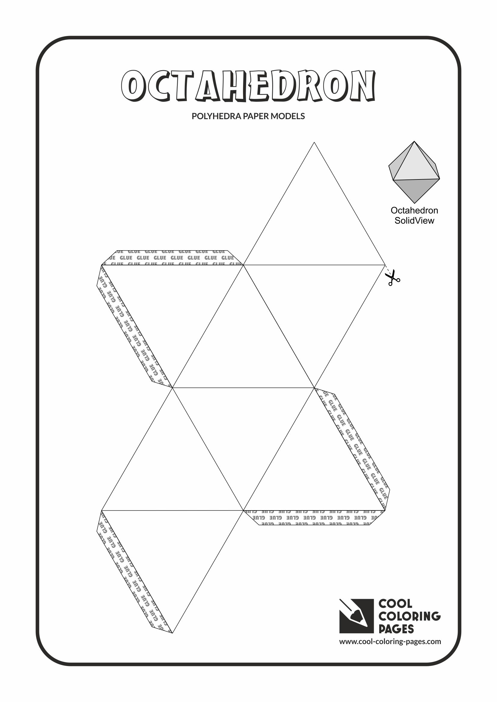Cool Coloring Pages - Paper models of polyhedra / Paper solids models / Octahedron