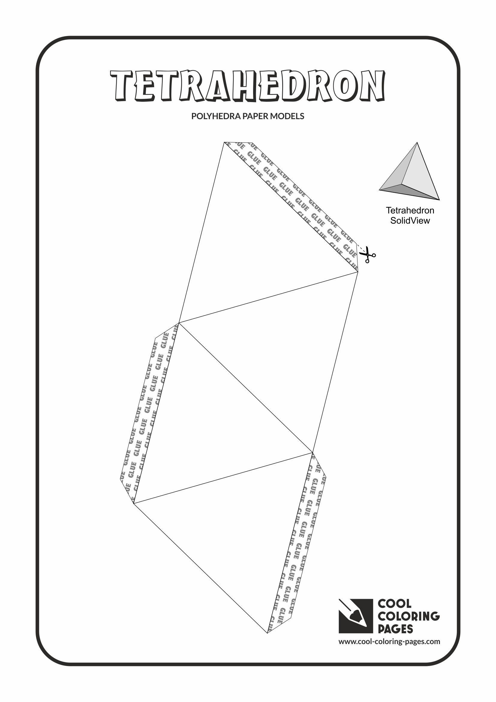 Cool Coloring Pages - Paper models of polyhedra / Paper solids models / Tetrahedron