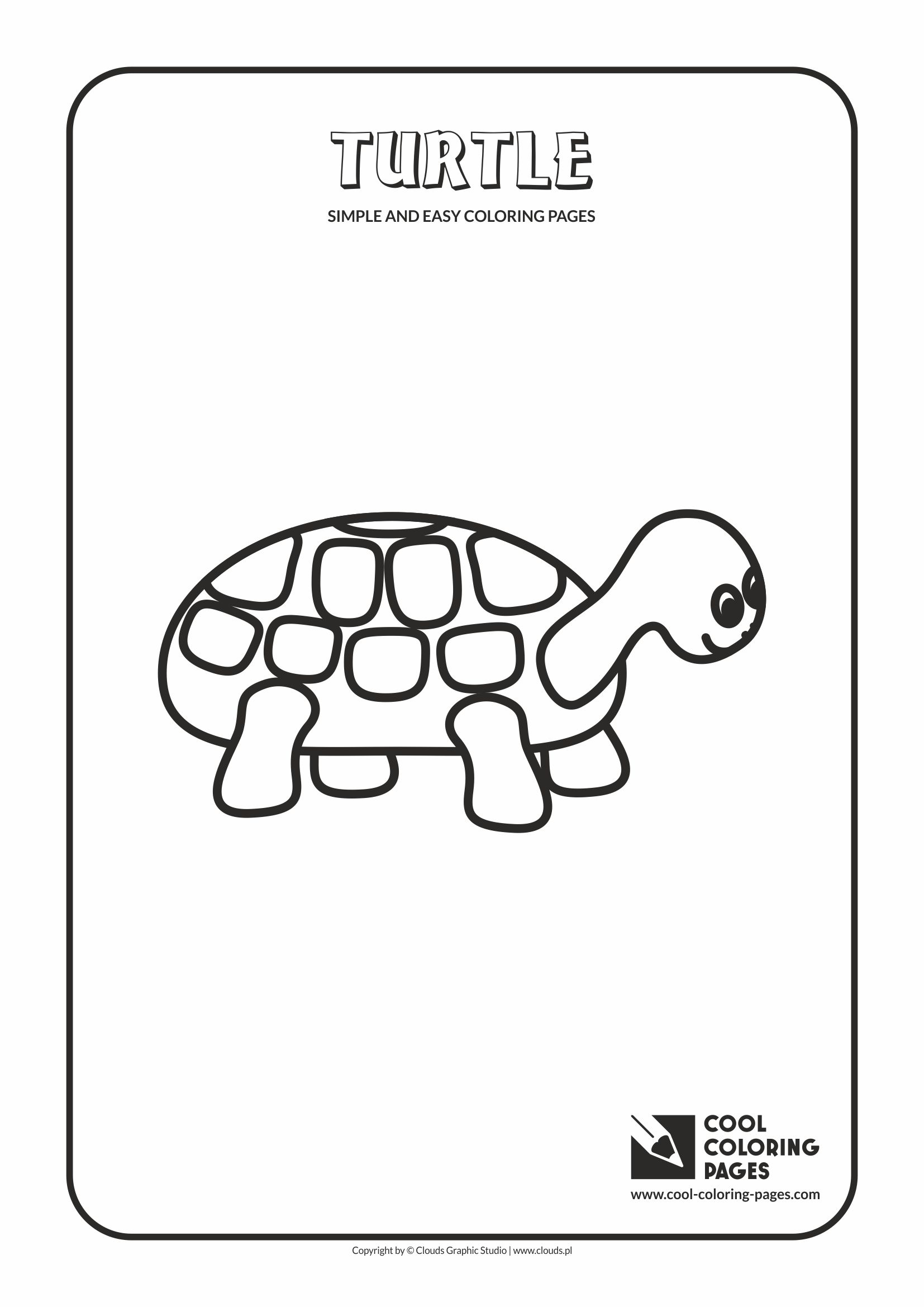 Simple and easy coloring pages for toddlers - Turtle