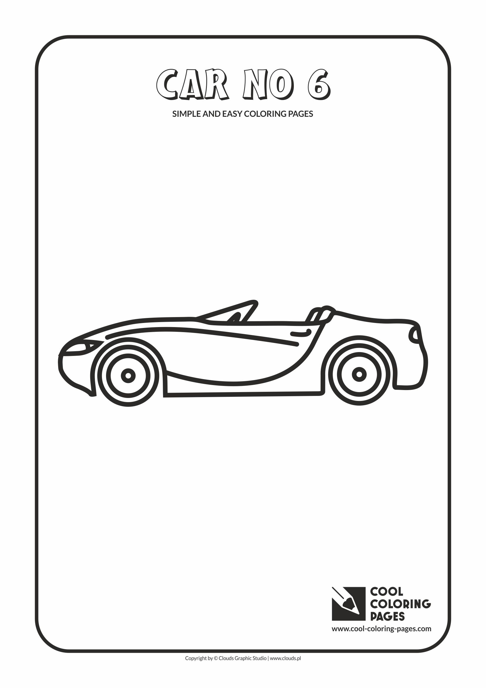 Simple and easy coloring pages for toddlers - Car no 6