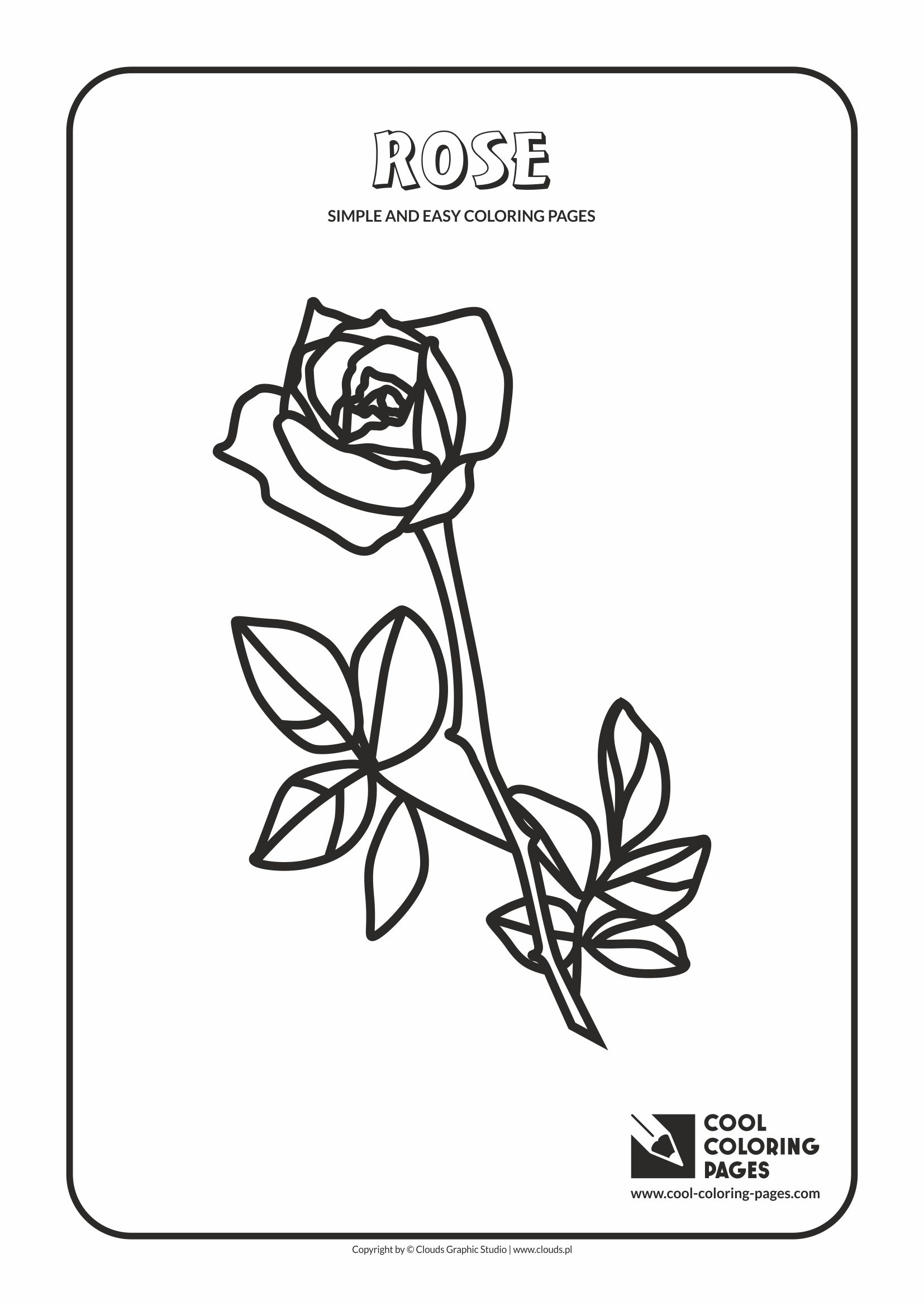 Cool coloring pages simple and easy coloring pages cool for Cool rose coloring pages