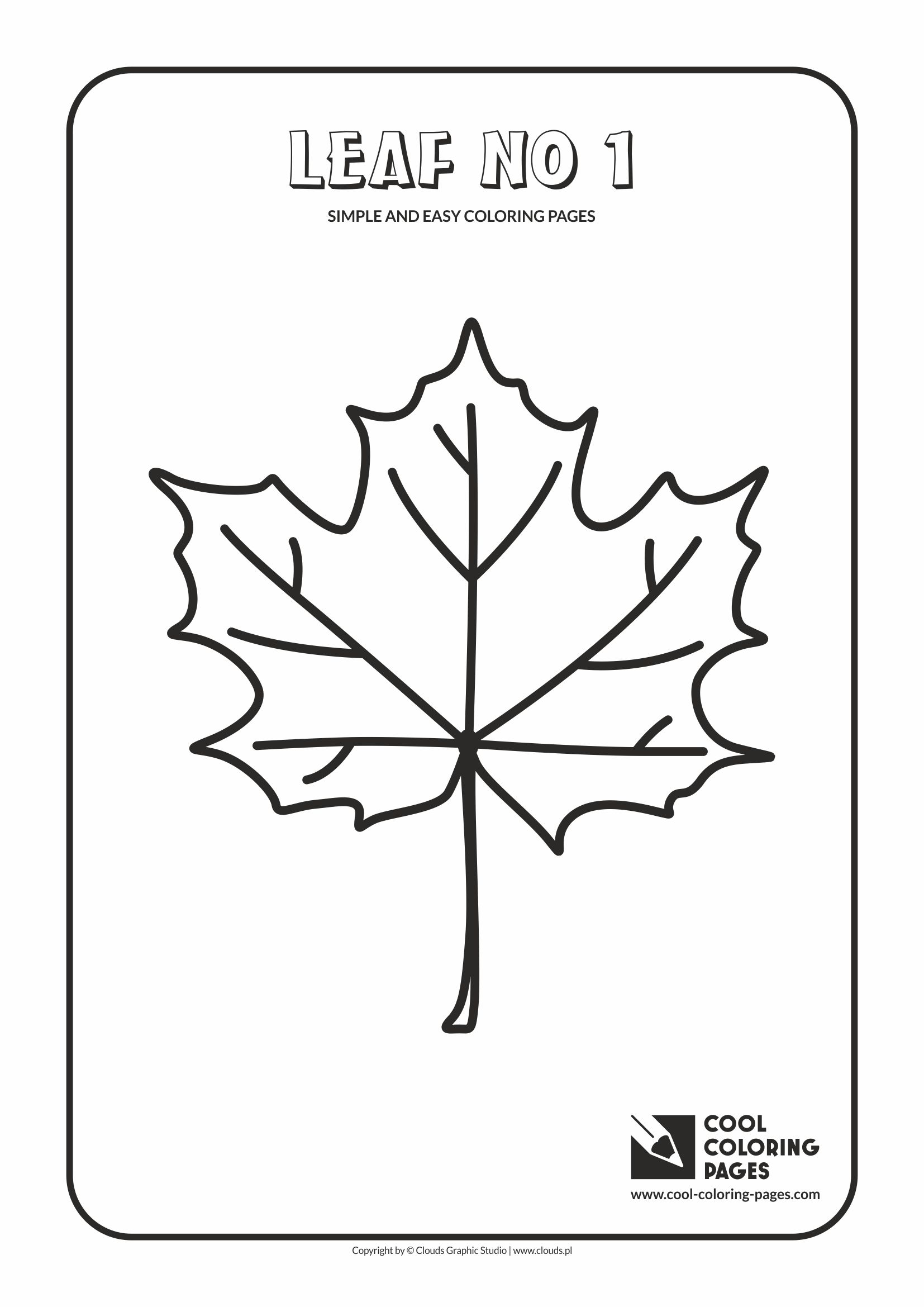 Simple and easy coloring pages for toddlers - Leaf no 1