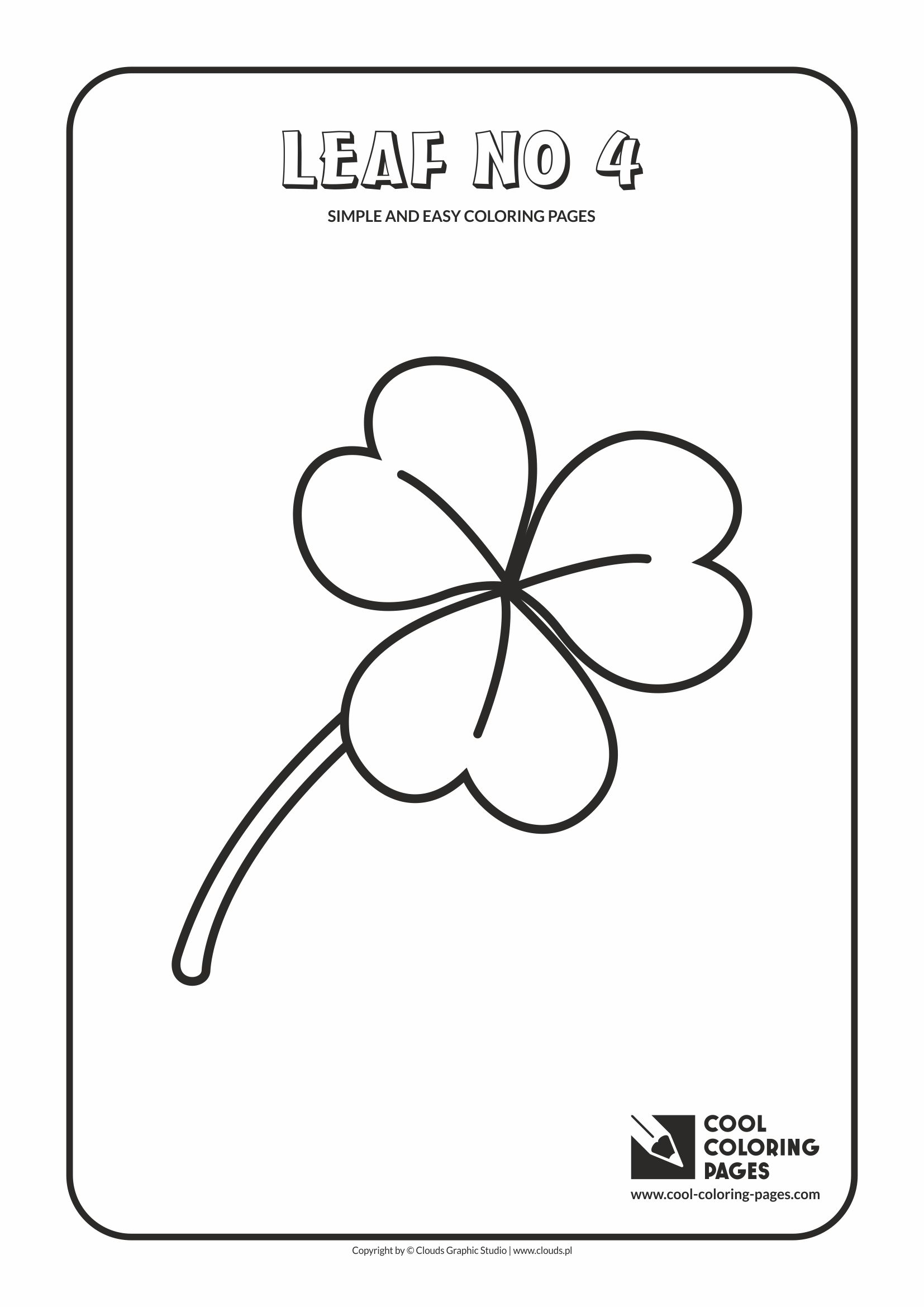 Simple and easy coloring pages for toddlers - Leaf no 4