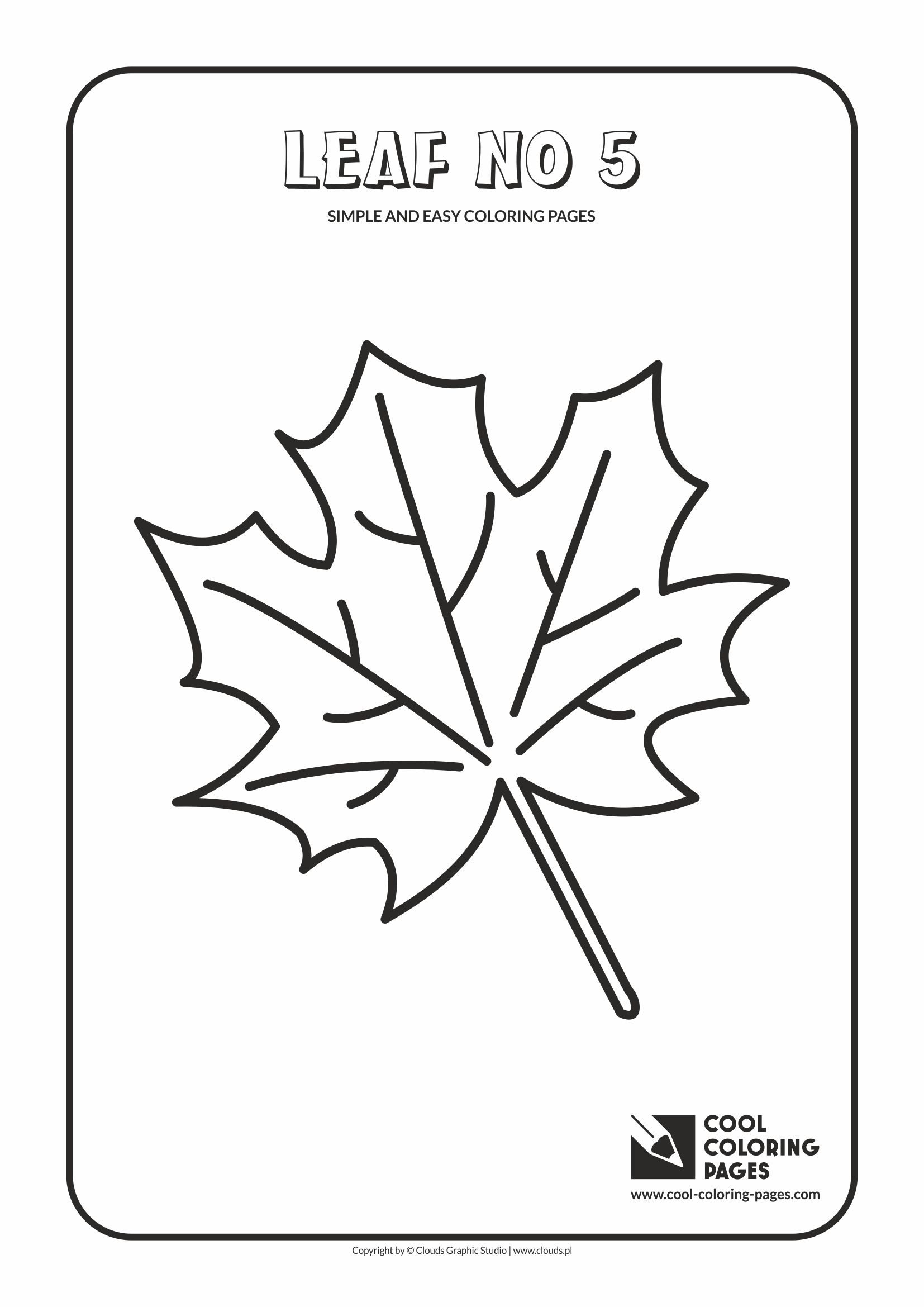 Simple and easy coloring pages for toddlers - Leaf no 5