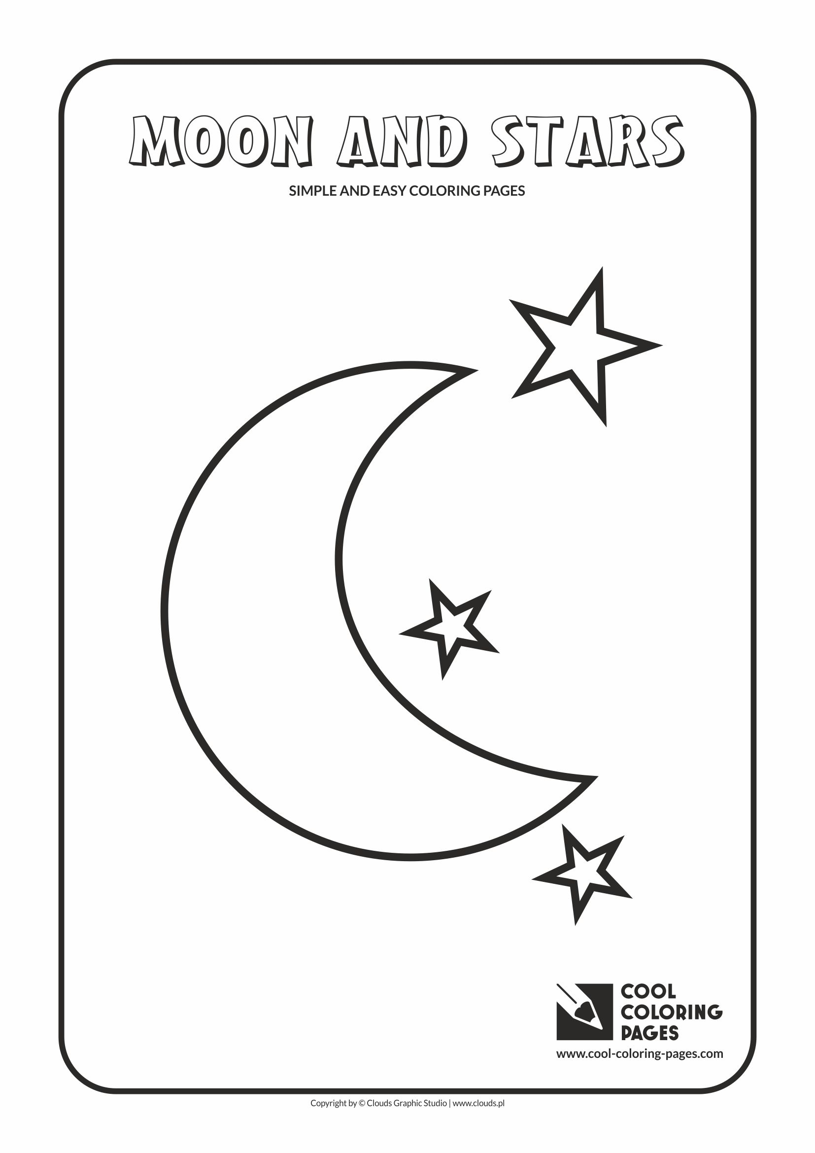 Simple and easy coloring pages for toddlers - Moon and stars
