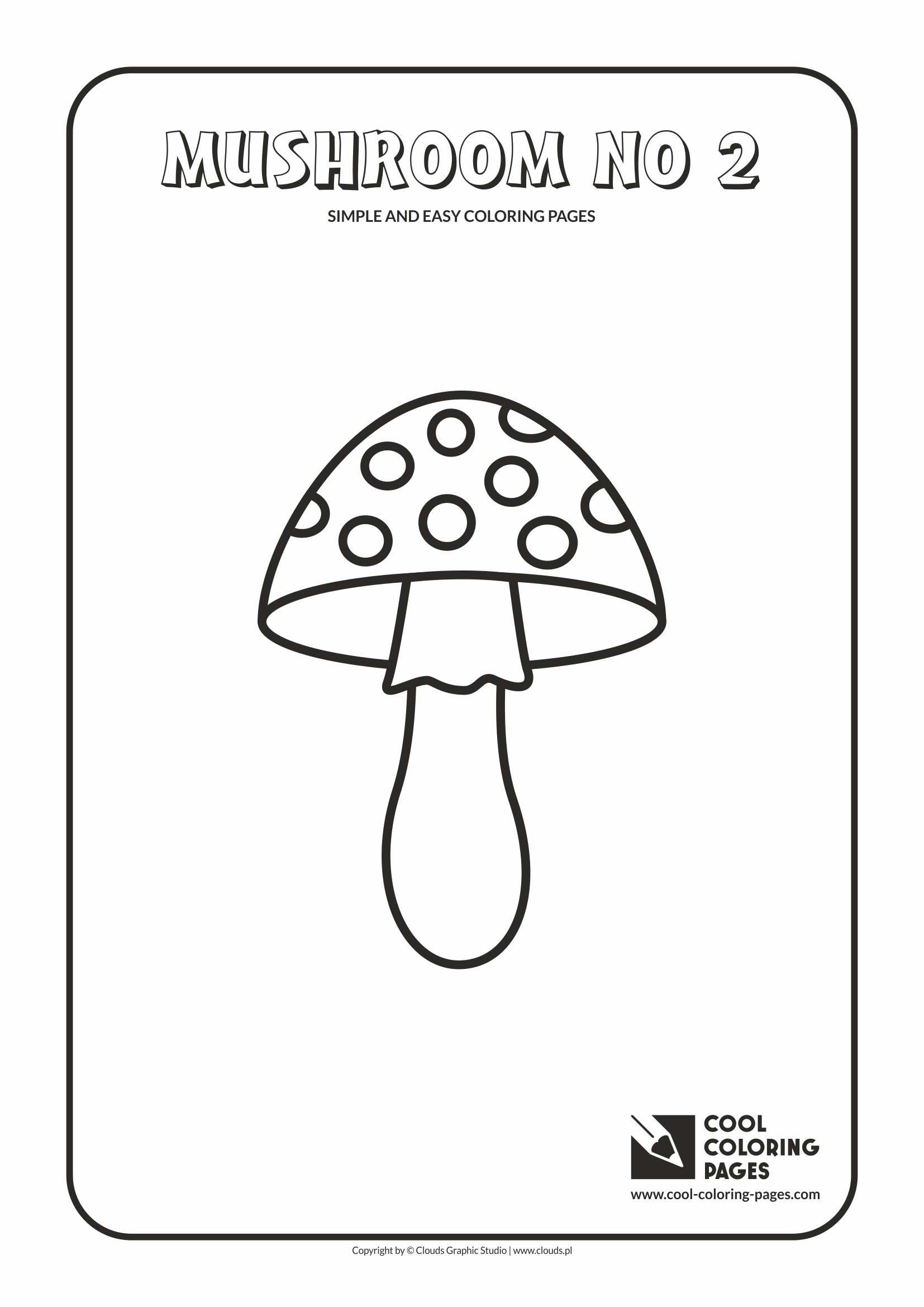 Simple and easy coloring pages for toddlers - Mushroom no 2